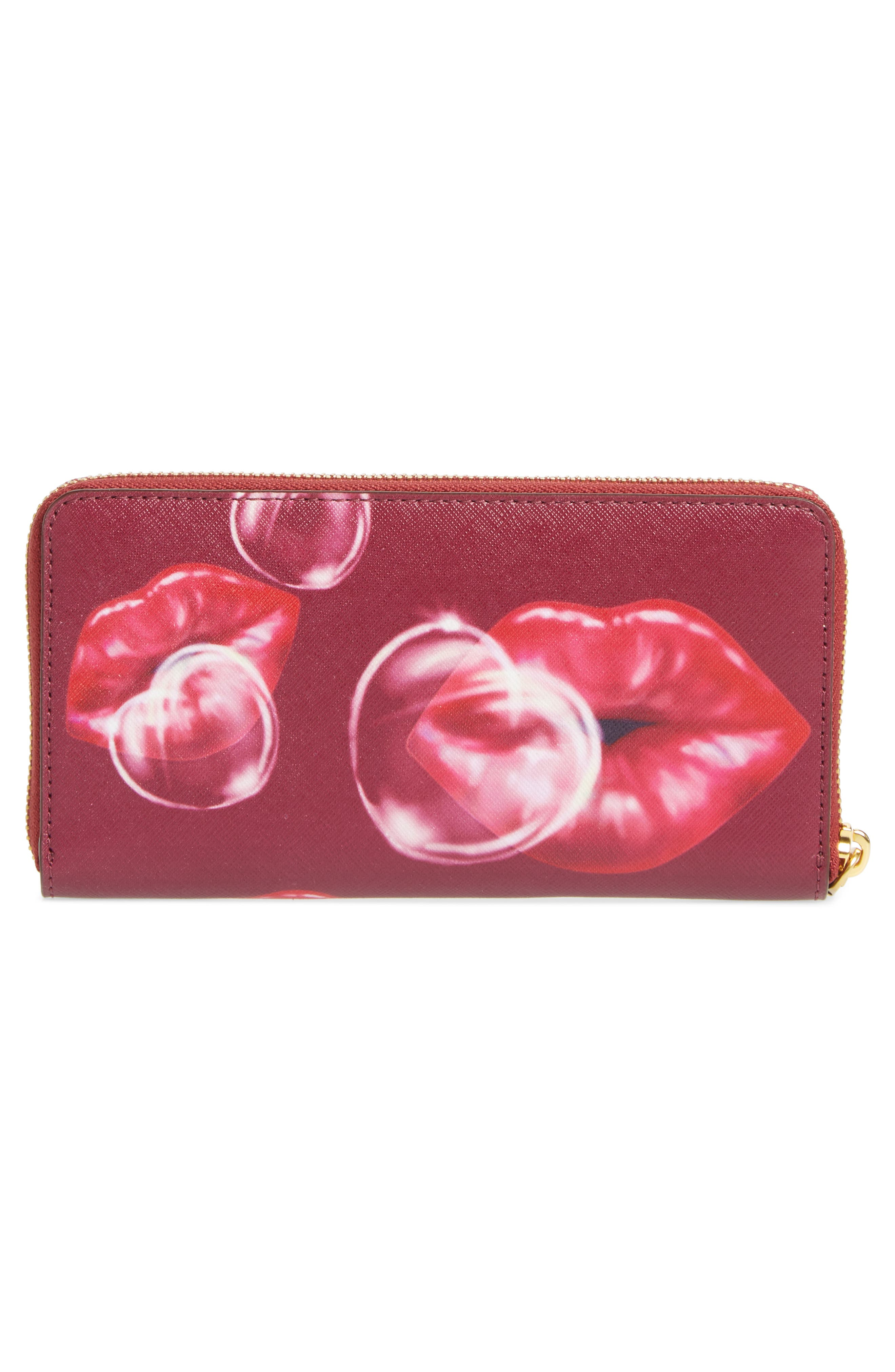 Lips Saffiano Leather Zip Around Wallet,                             Alternate thumbnail 3, color,                             653