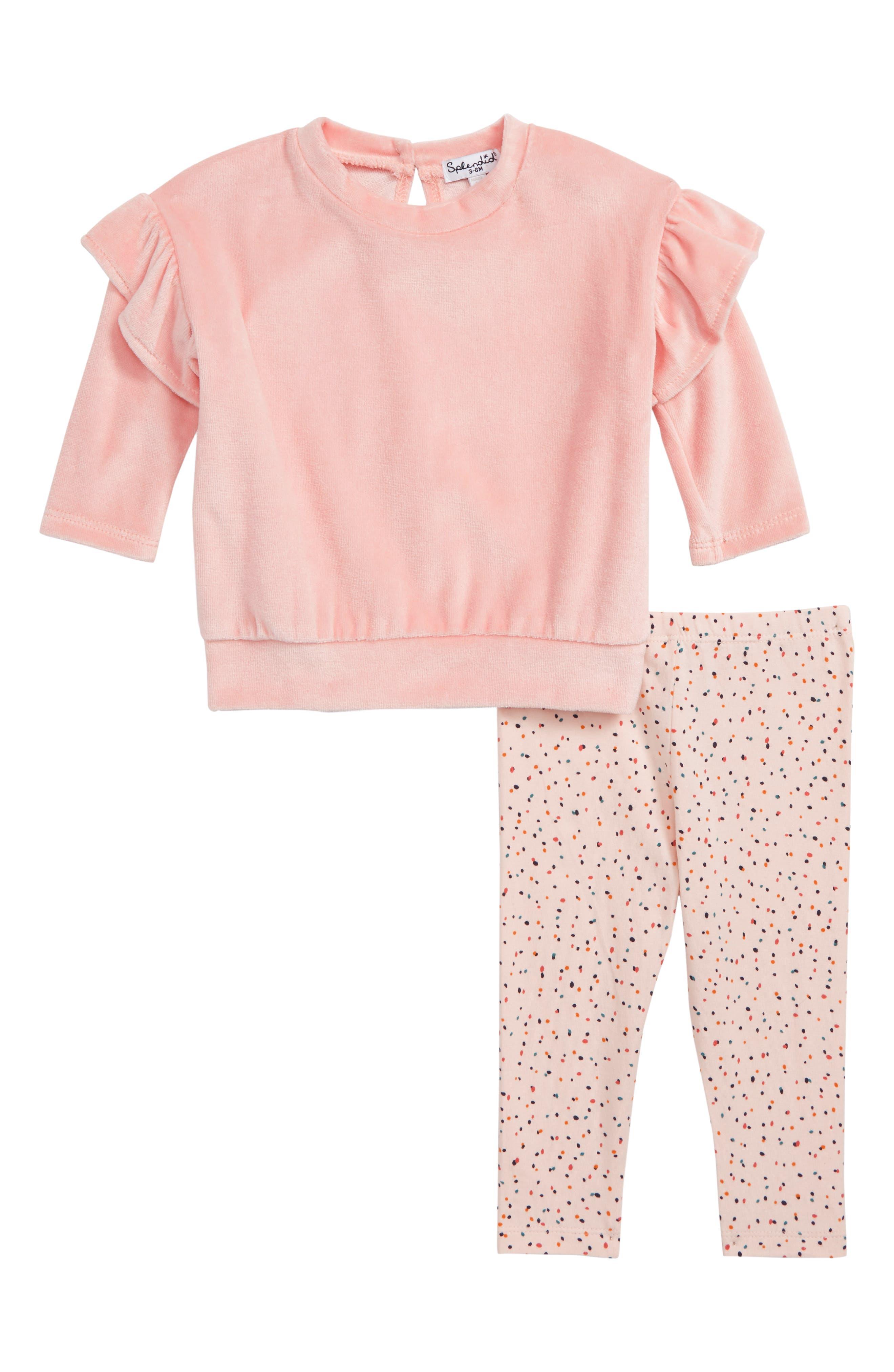 SPLENDID,                             Velour Side Slit Sweatshirt & Leggings Set,                             Main thumbnail 1, color,                             653
