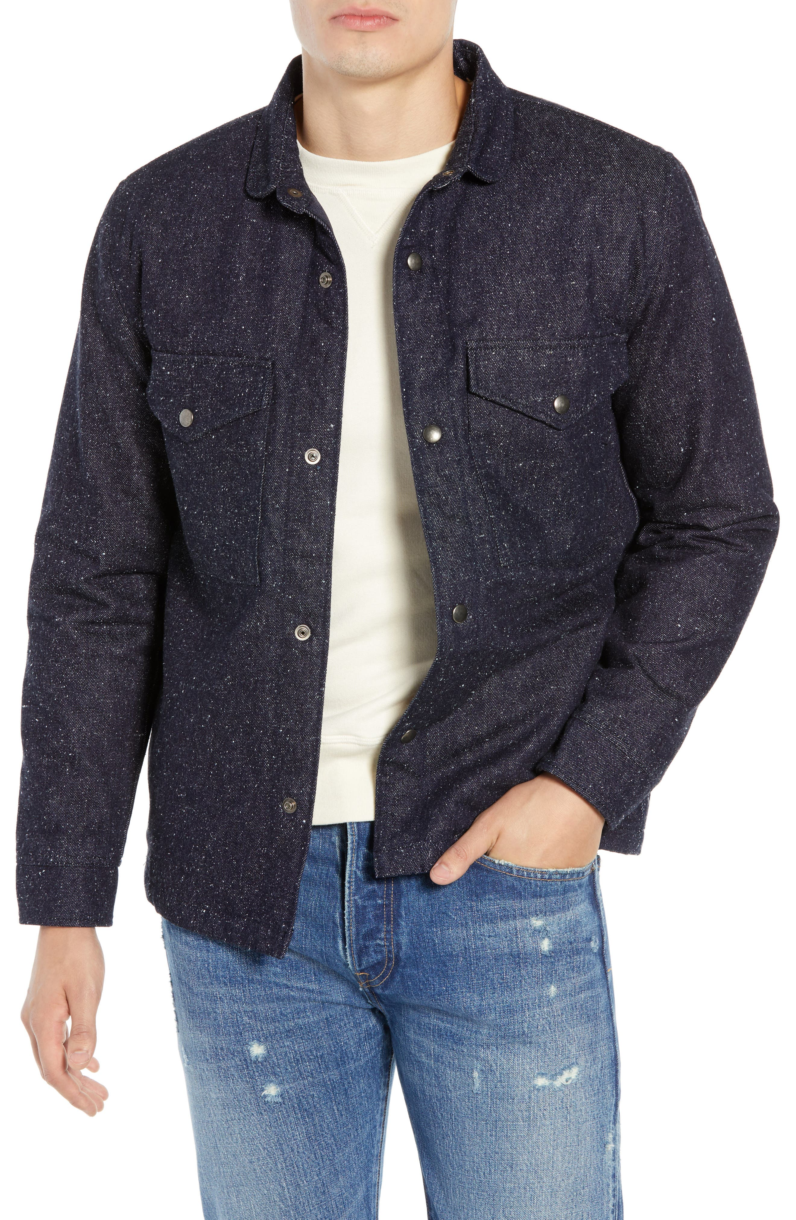 Nep Shirt Jacket,                         Main,                         color, DENIM BLUES