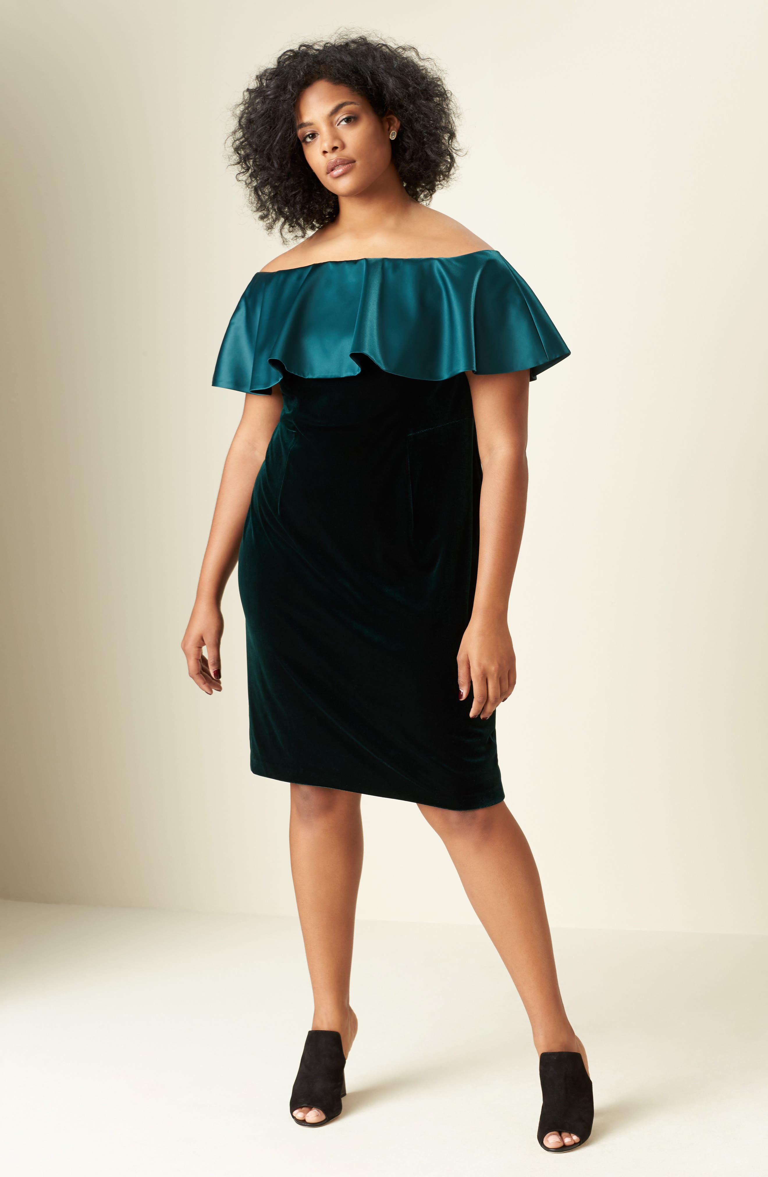 Adriana Papell Stretch Velvet Sheath Dress,                             Alternate thumbnail 7, color,                             321