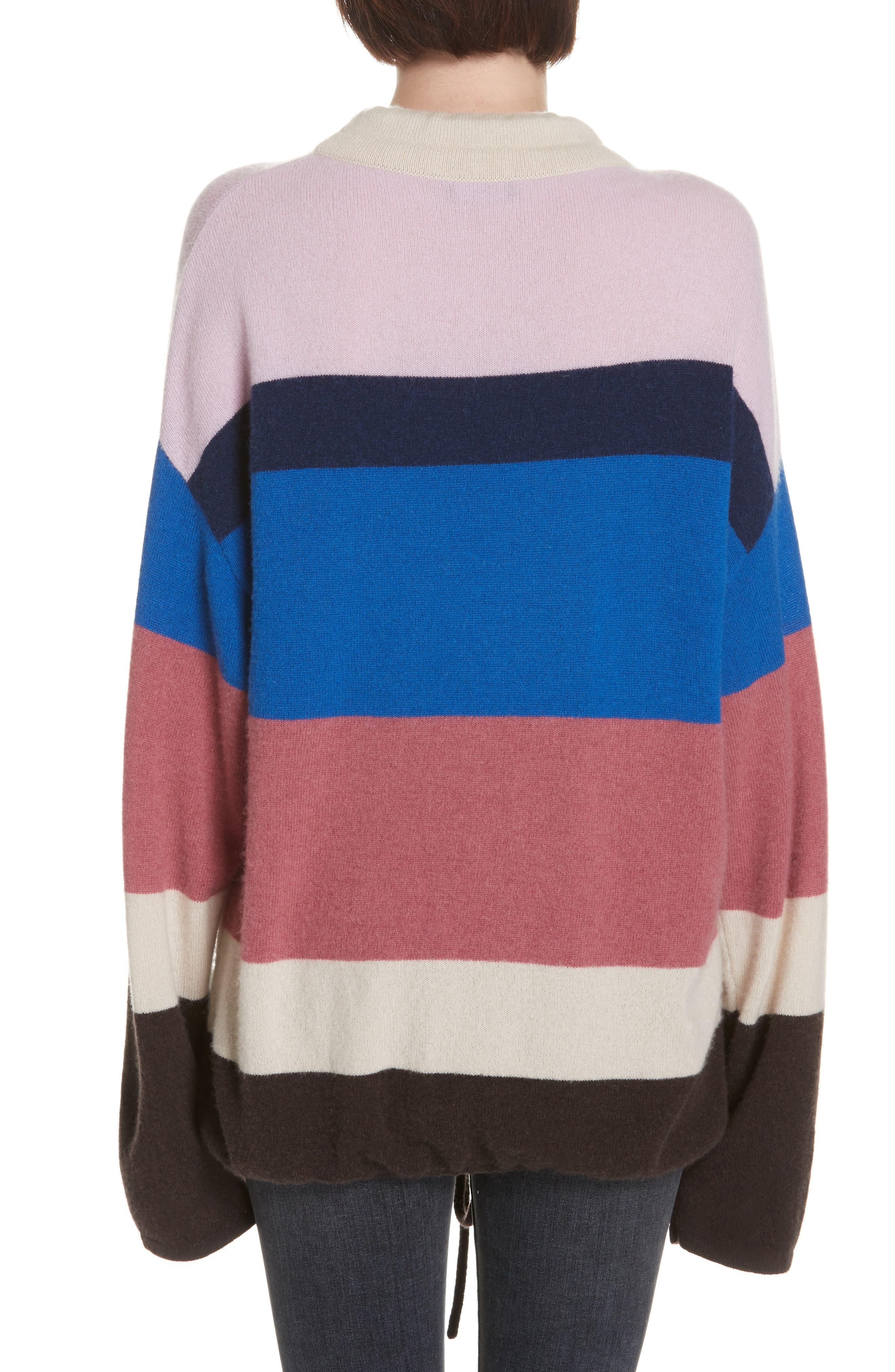 Stripe Mock Neck Cashmere Pullover,                             Alternate thumbnail 2, color,                             ROYAL BLUE MULTI