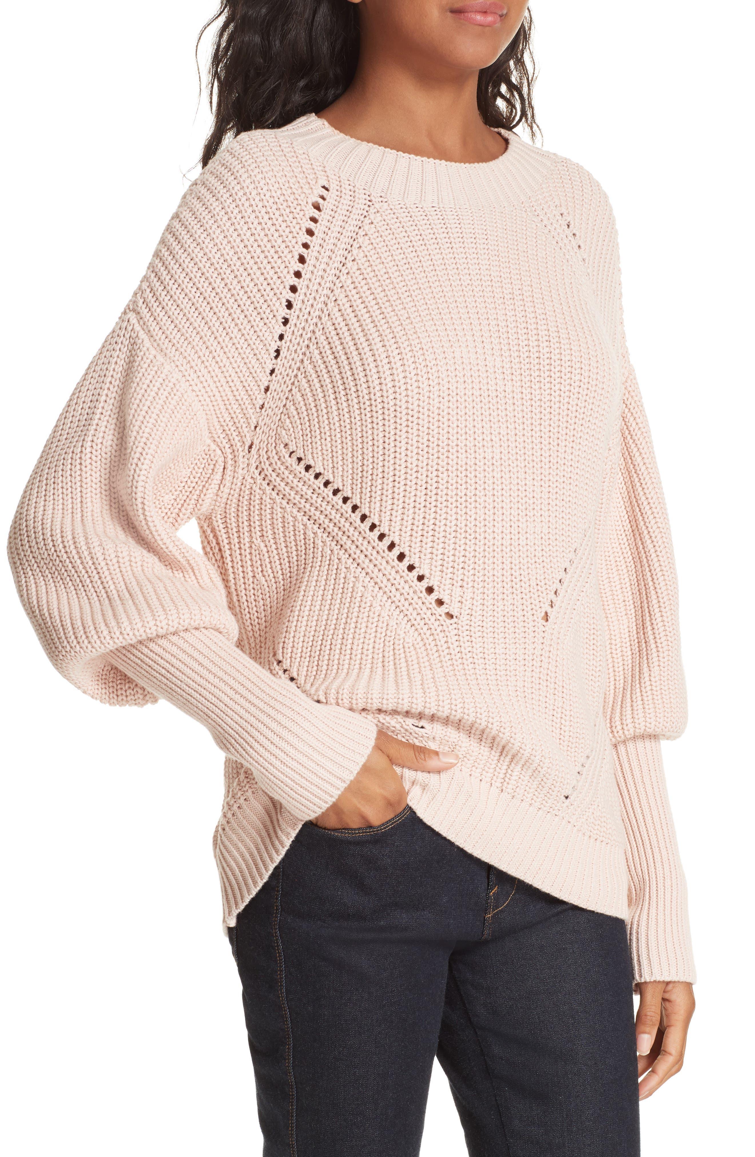 Landyn Blouson Sleeve Sweater,                             Alternate thumbnail 4, color,                             PINK SKY