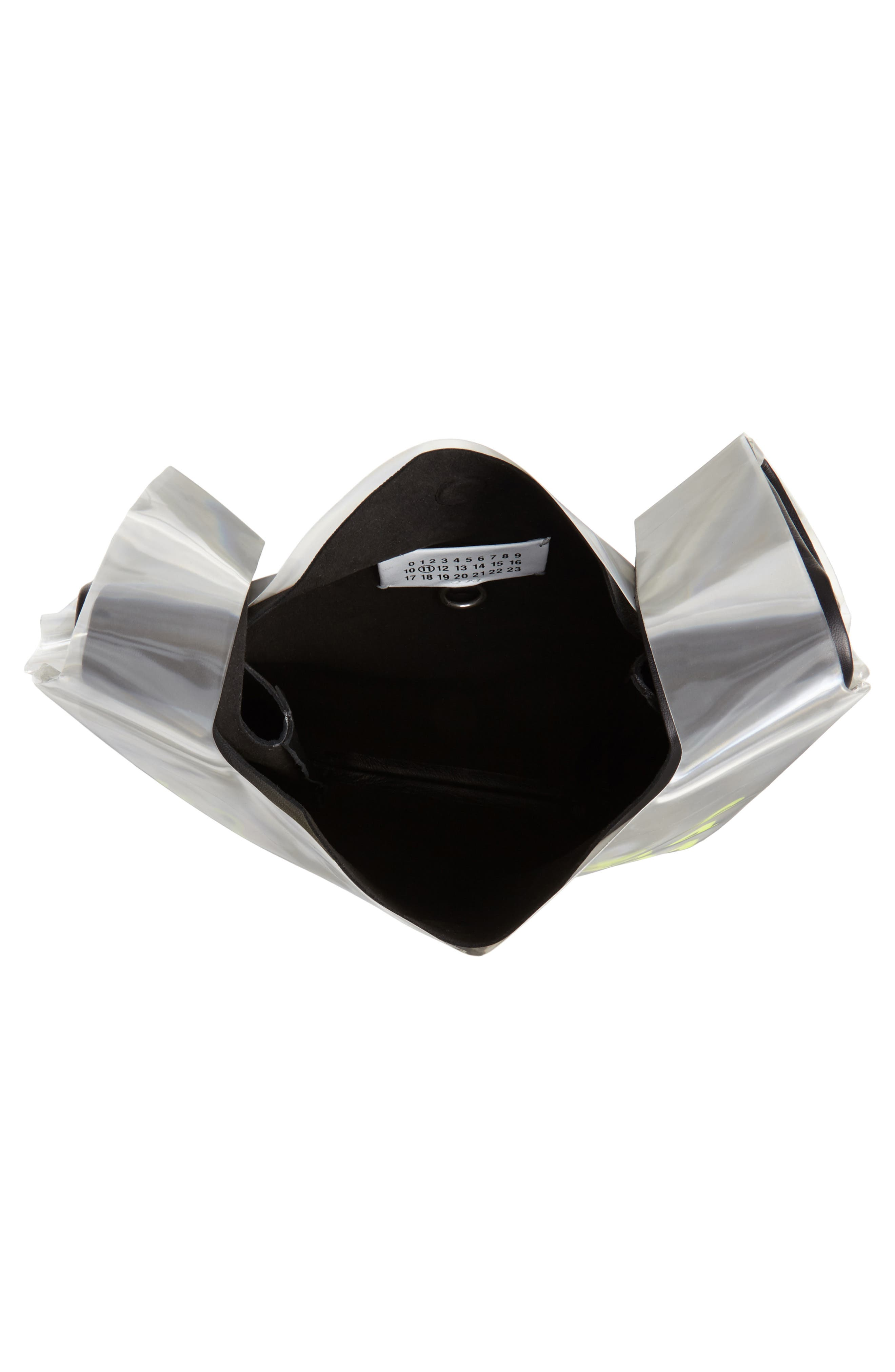 PVC & Leather Shopper Bag,                             Alternate thumbnail 4, color,                             BLACK/ YELLOW FLUO