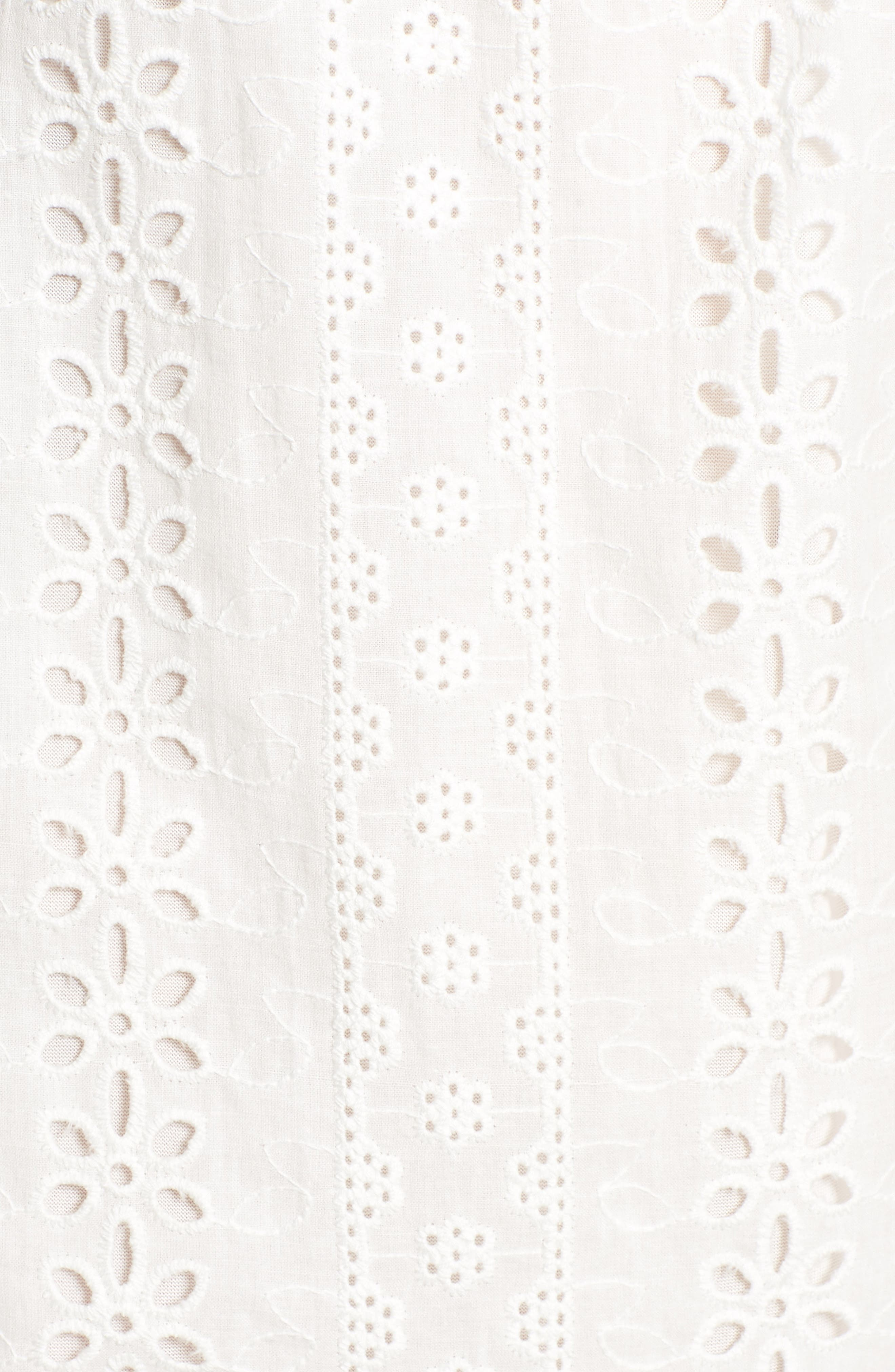 Bishop + Young Eyelet Ruffle Off the Shoulder Dress,                             Alternate thumbnail 6, color,                             100