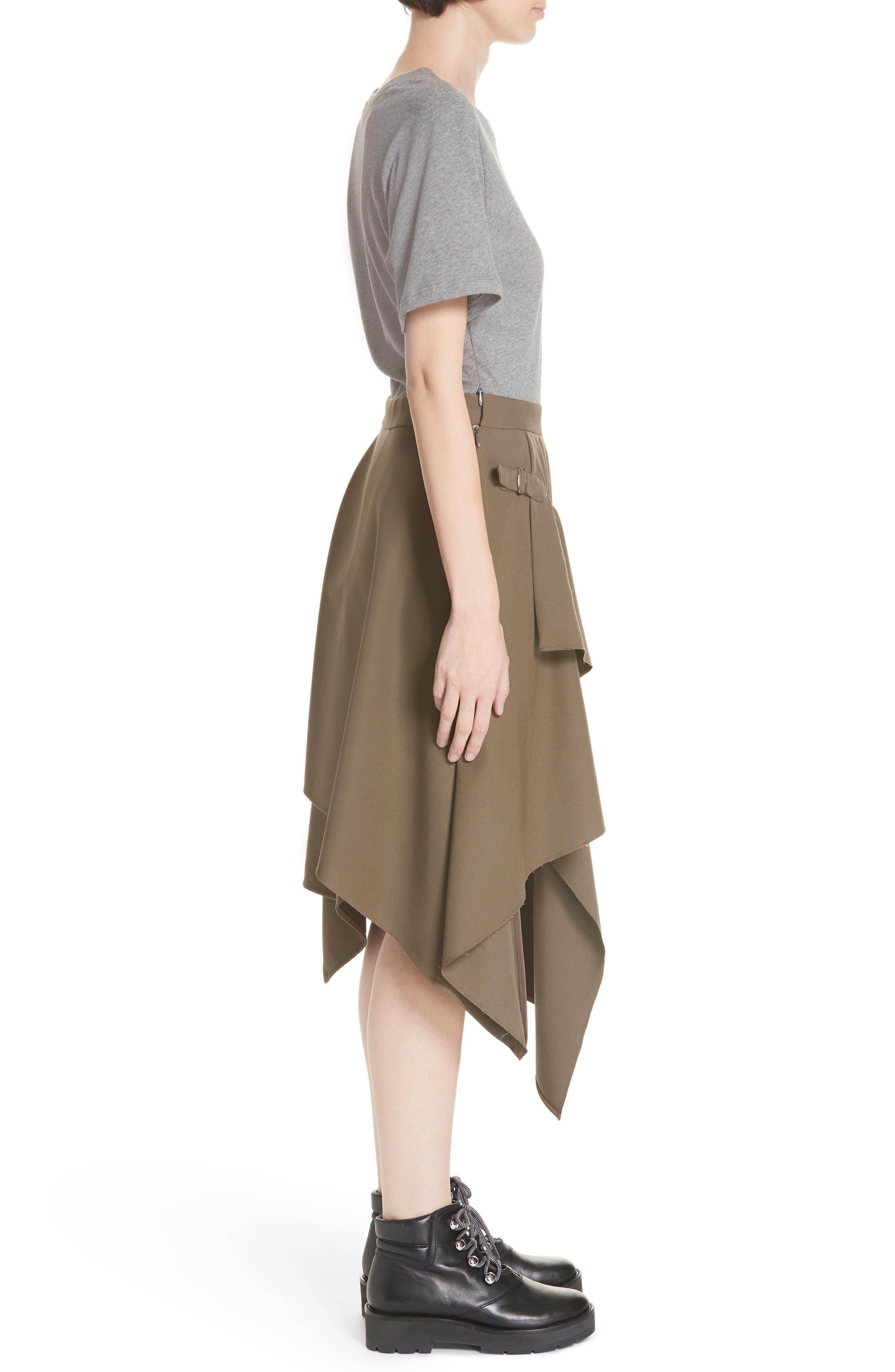 Mixed Media Wool & Cotton T-Shirt Dress,                             Alternate thumbnail 3, color,                             FIR GREEN