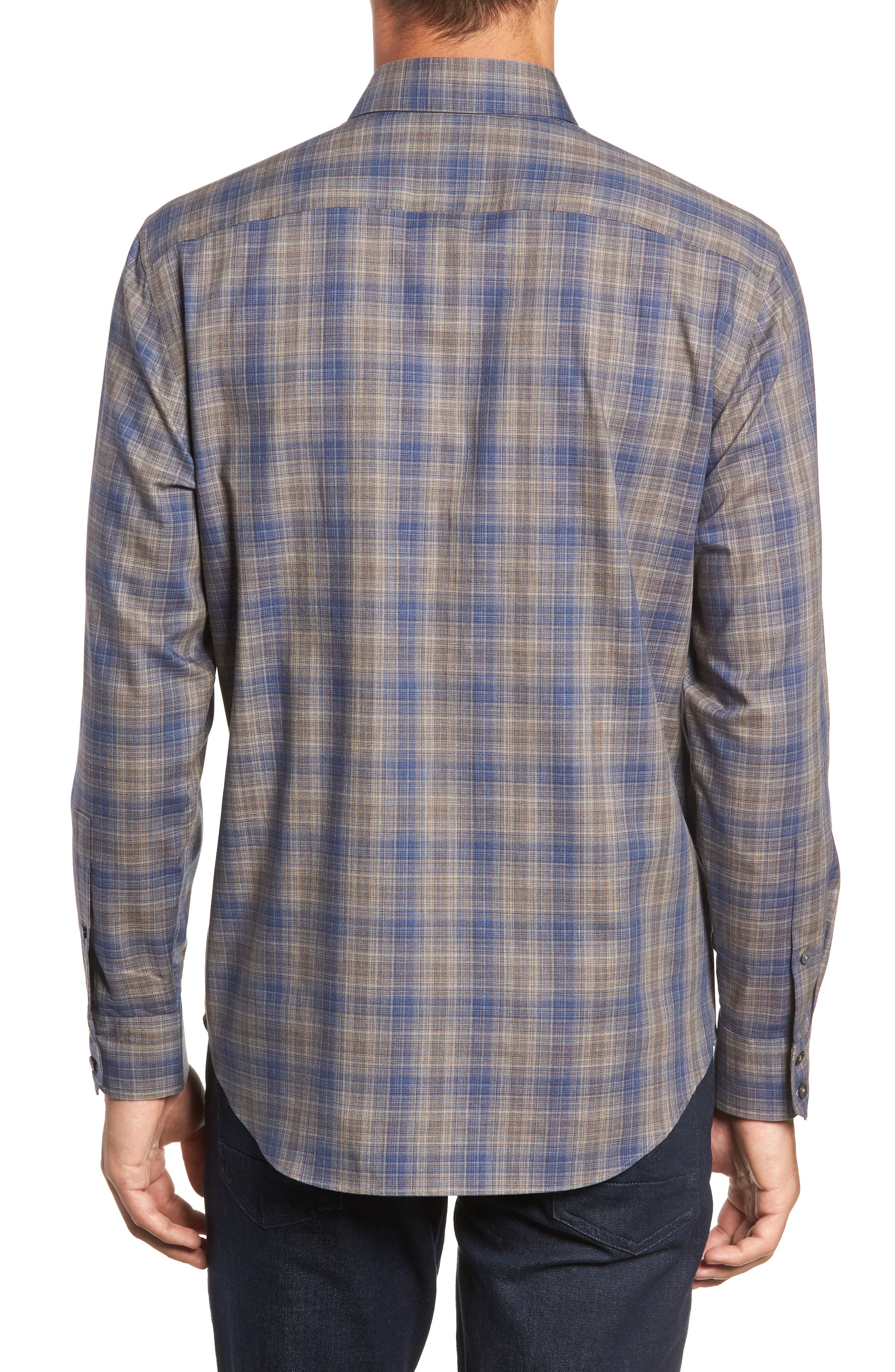 Compton Regular Fit Check Sport Shirt,                             Alternate thumbnail 3, color,                             SAND