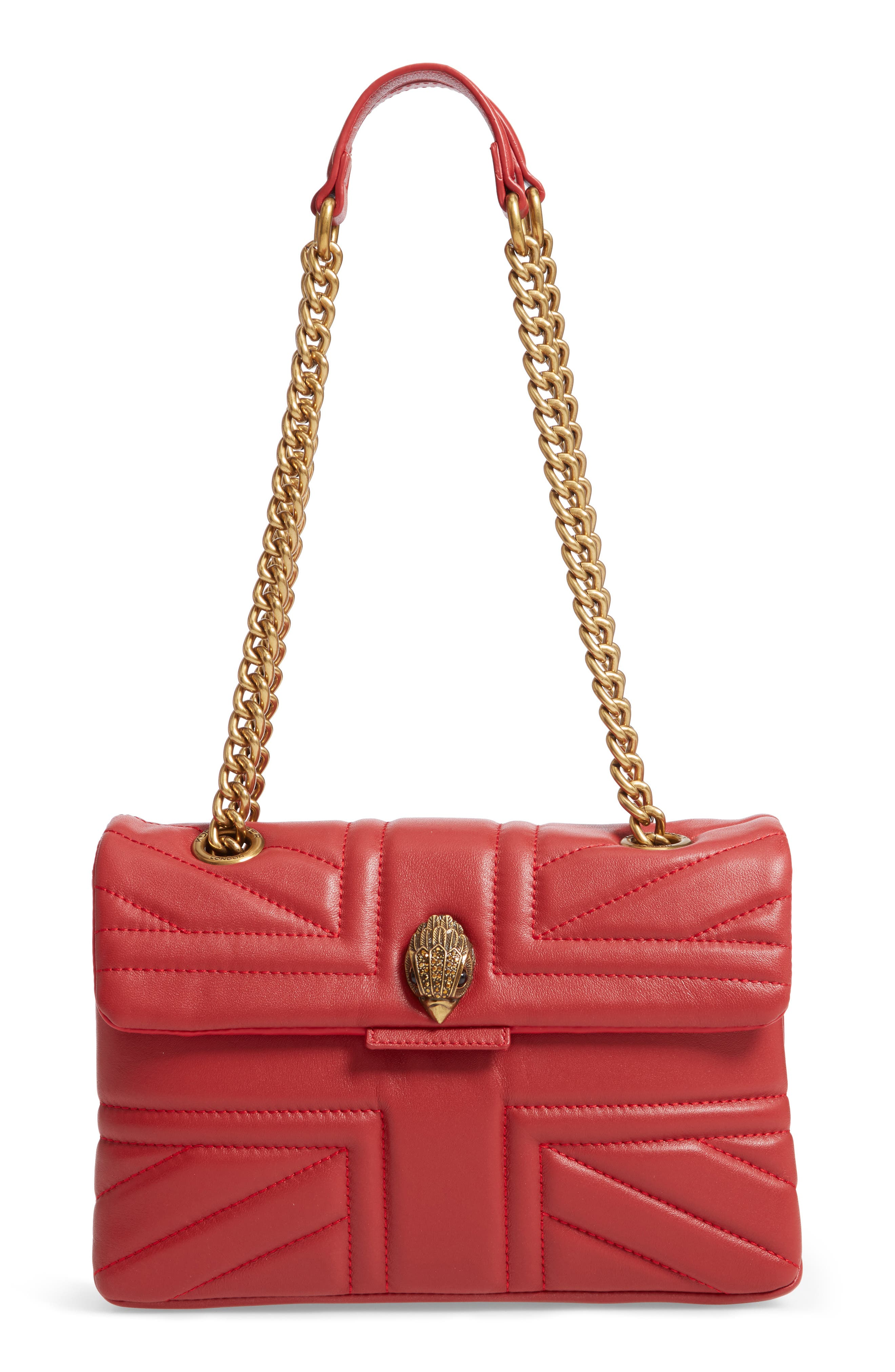 Kensington Union Jack Leather Crossbody Bag - Red