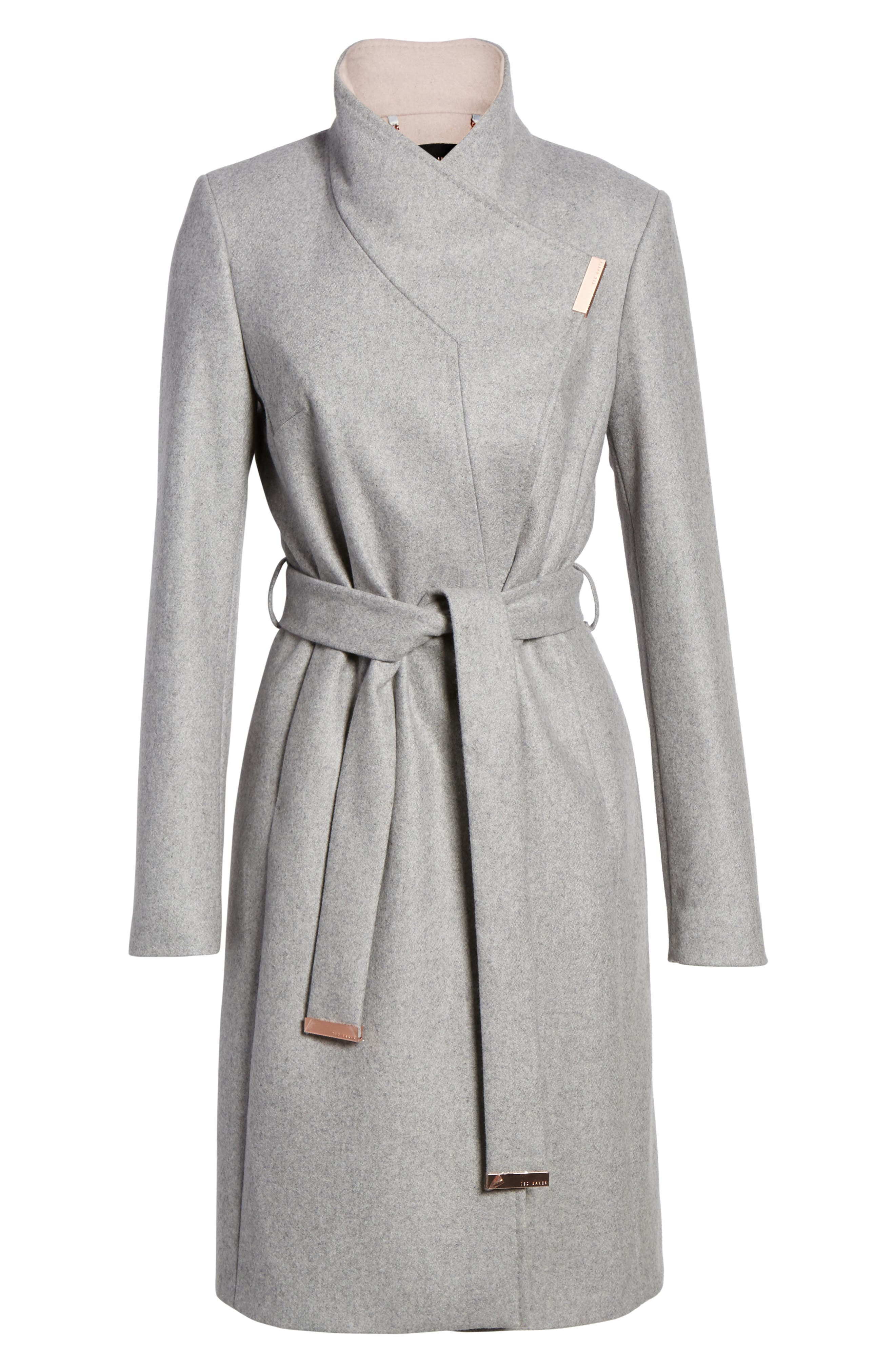Wool Blend Long Wrap Coat,                             Alternate thumbnail 5, color,                             050
