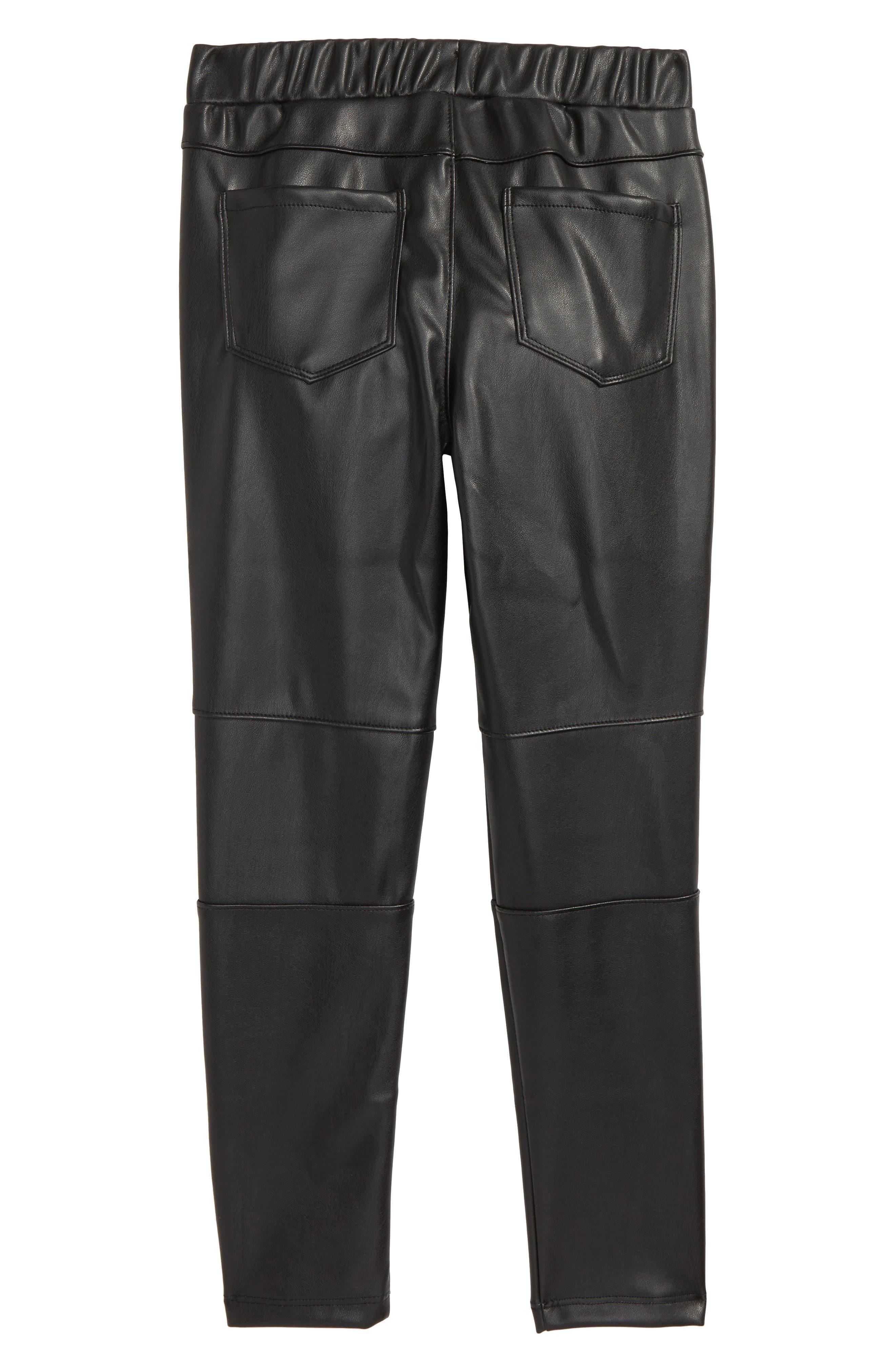 Faux Leather Leggings,                             Alternate thumbnail 2, color,                             001