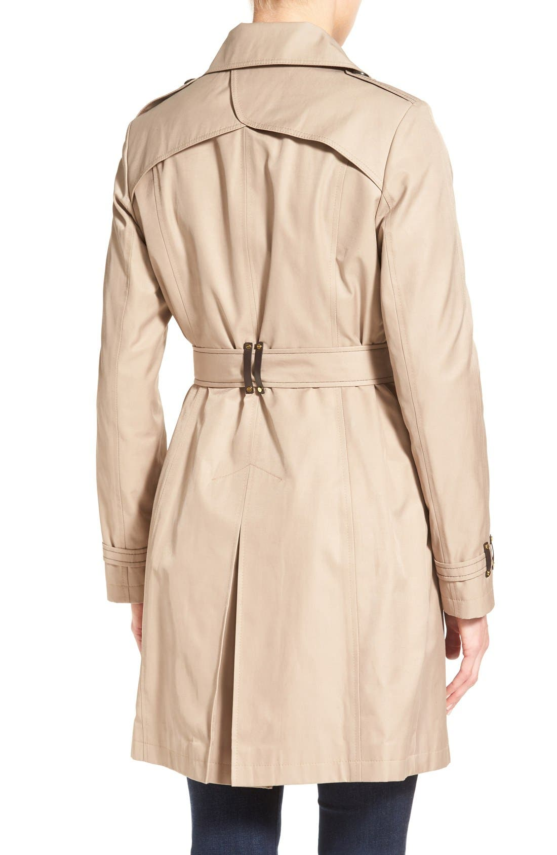 Double Breasted Trench with Faux Leather Trim,                             Alternate thumbnail 4, color,