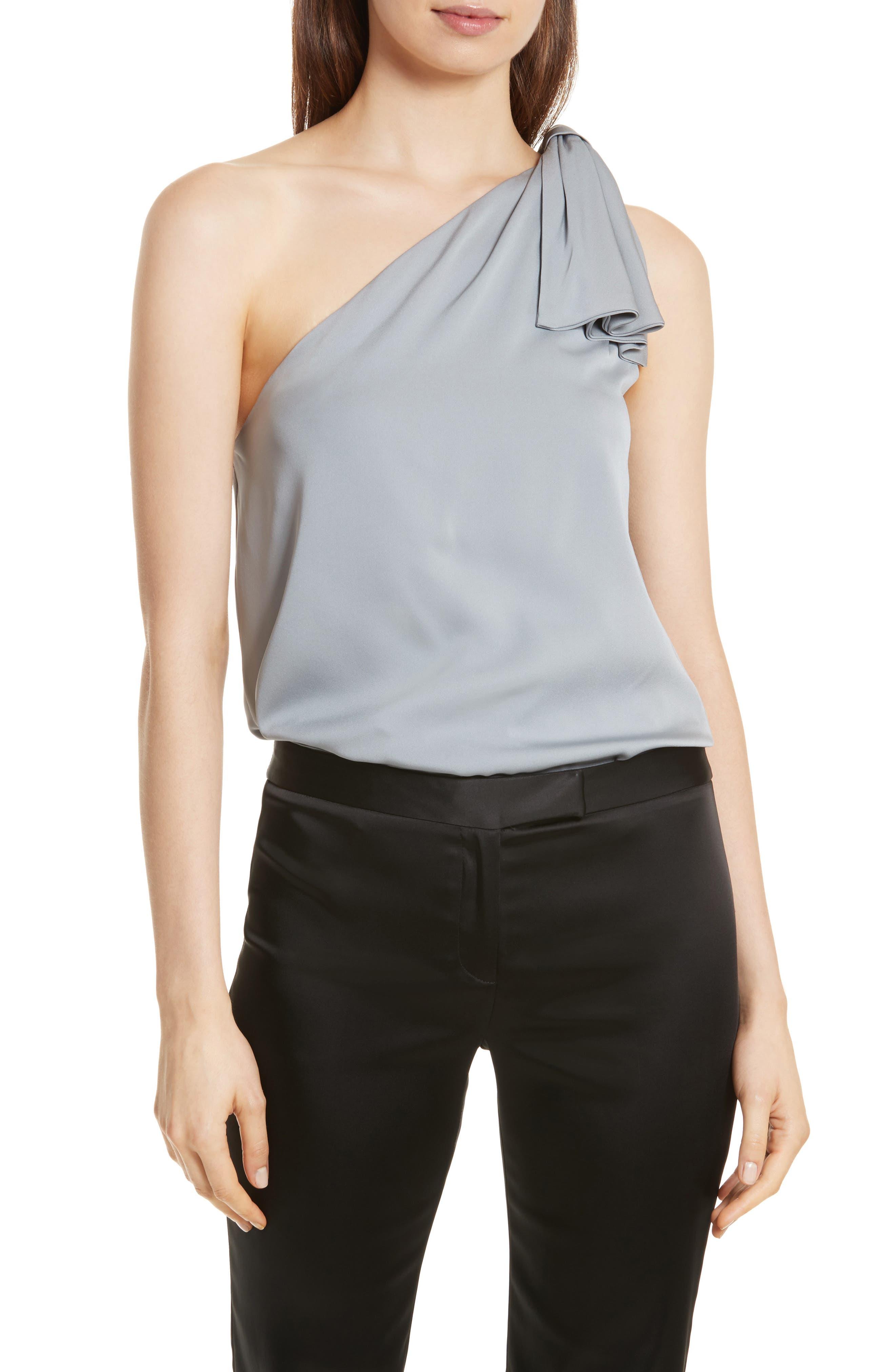 Cindy One-Shoulder Stretch Silk Top,                         Main,                         color, 041