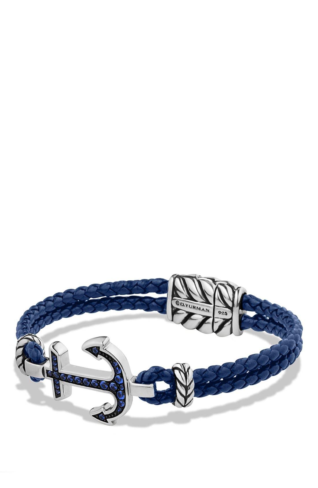 Pavé Anchor Bracelet, Main, color, SAPPHIRE