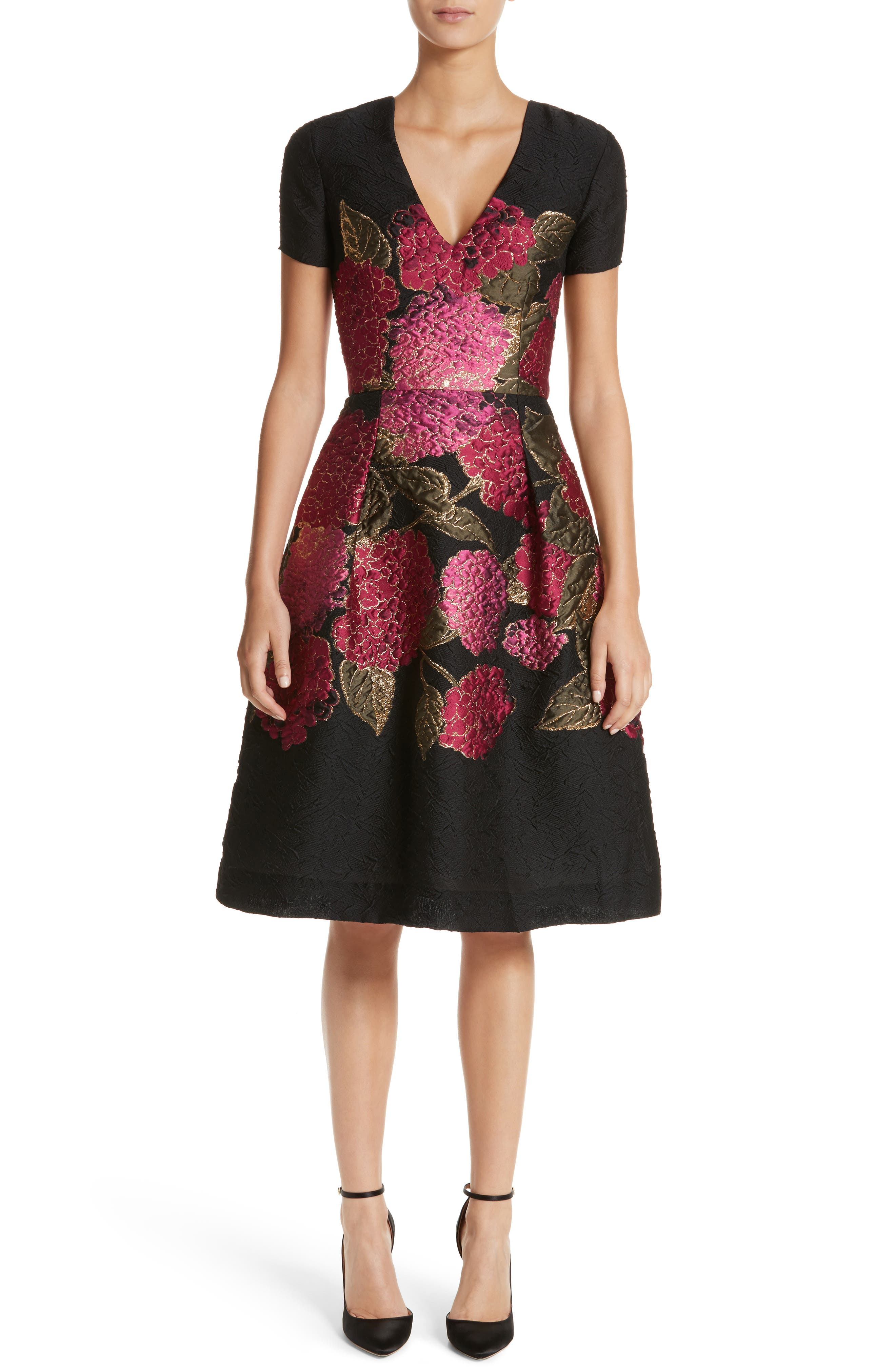 Embroidered Brocade Fit & Flare Dress,                             Main thumbnail 1, color,                             001