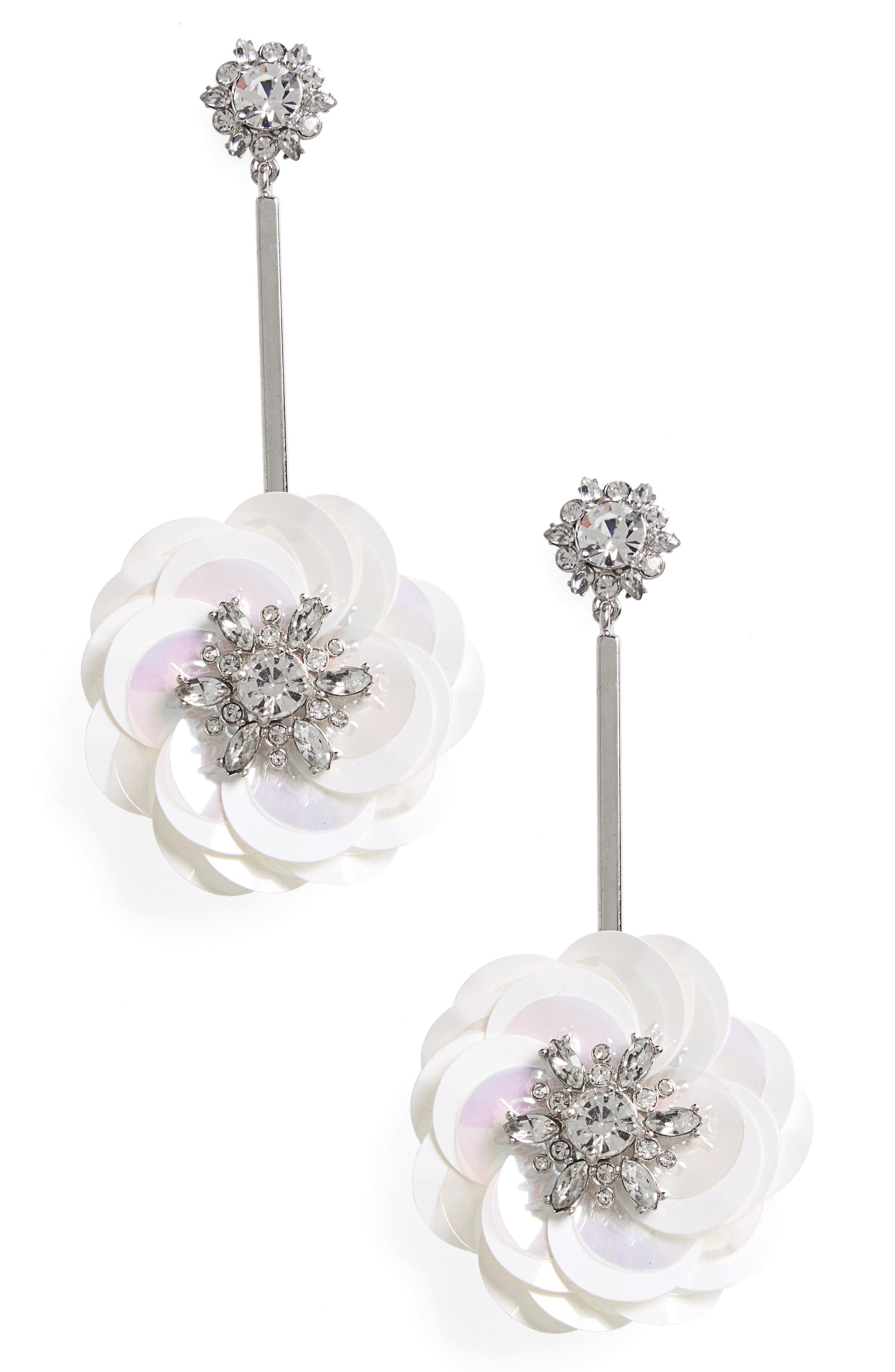 snowy nights sequin drop earrings,                             Main thumbnail 2, color,