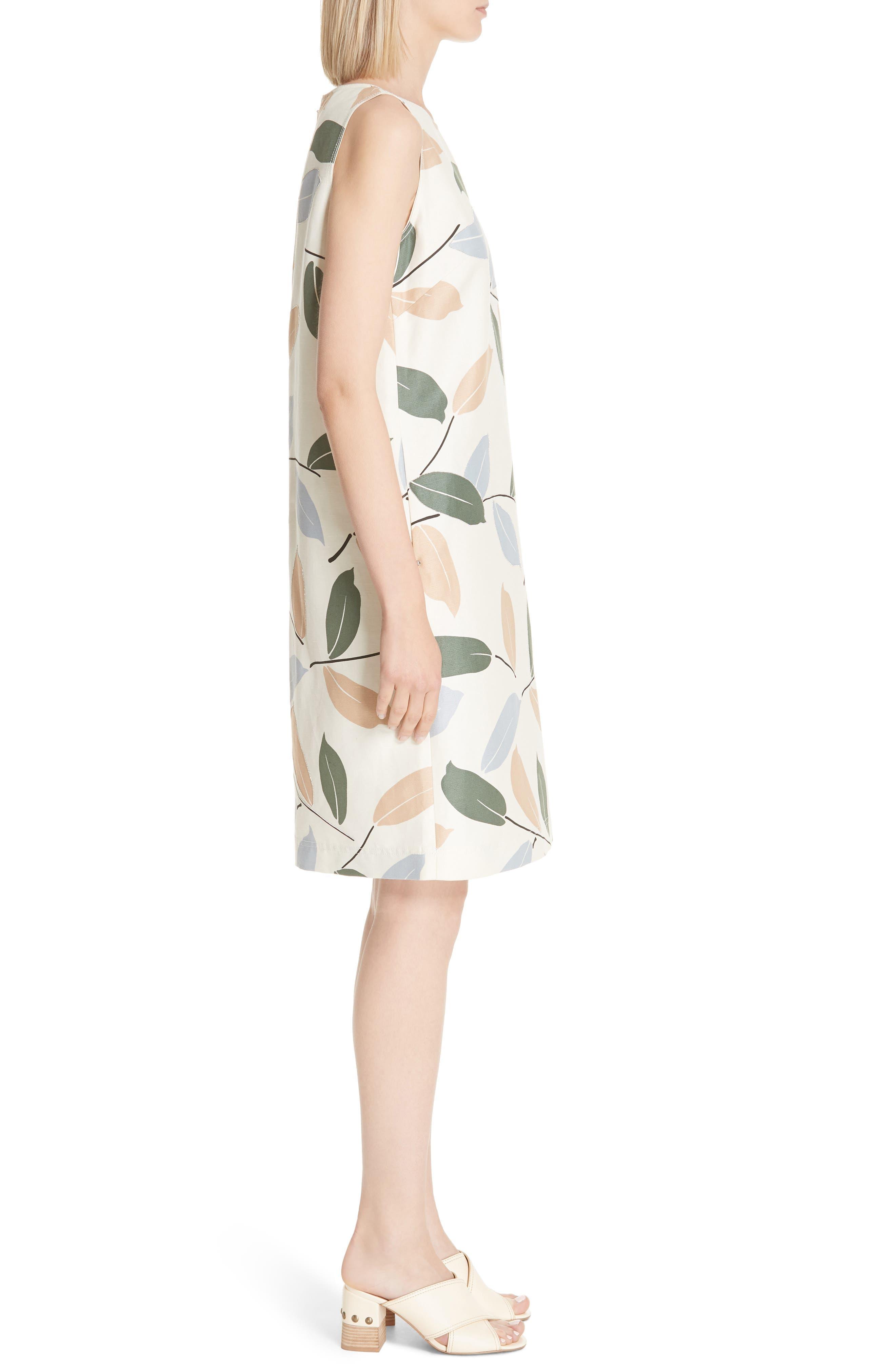 Hana Linen & Cotton Shift Dress,                             Alternate thumbnail 3, color,                             RAFFIA MULTI