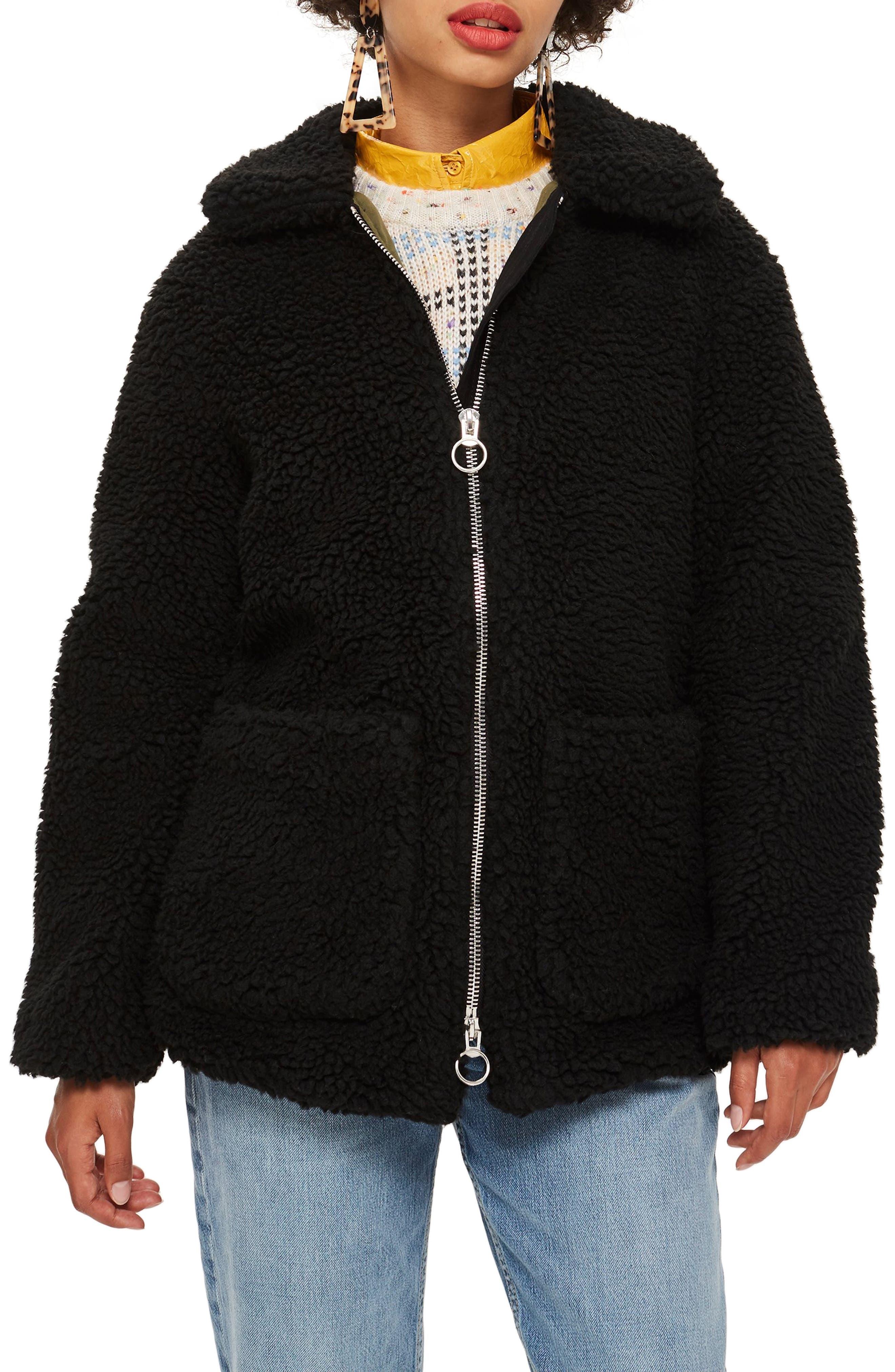 Borg Jacket,                         Main,                         color, BLACK