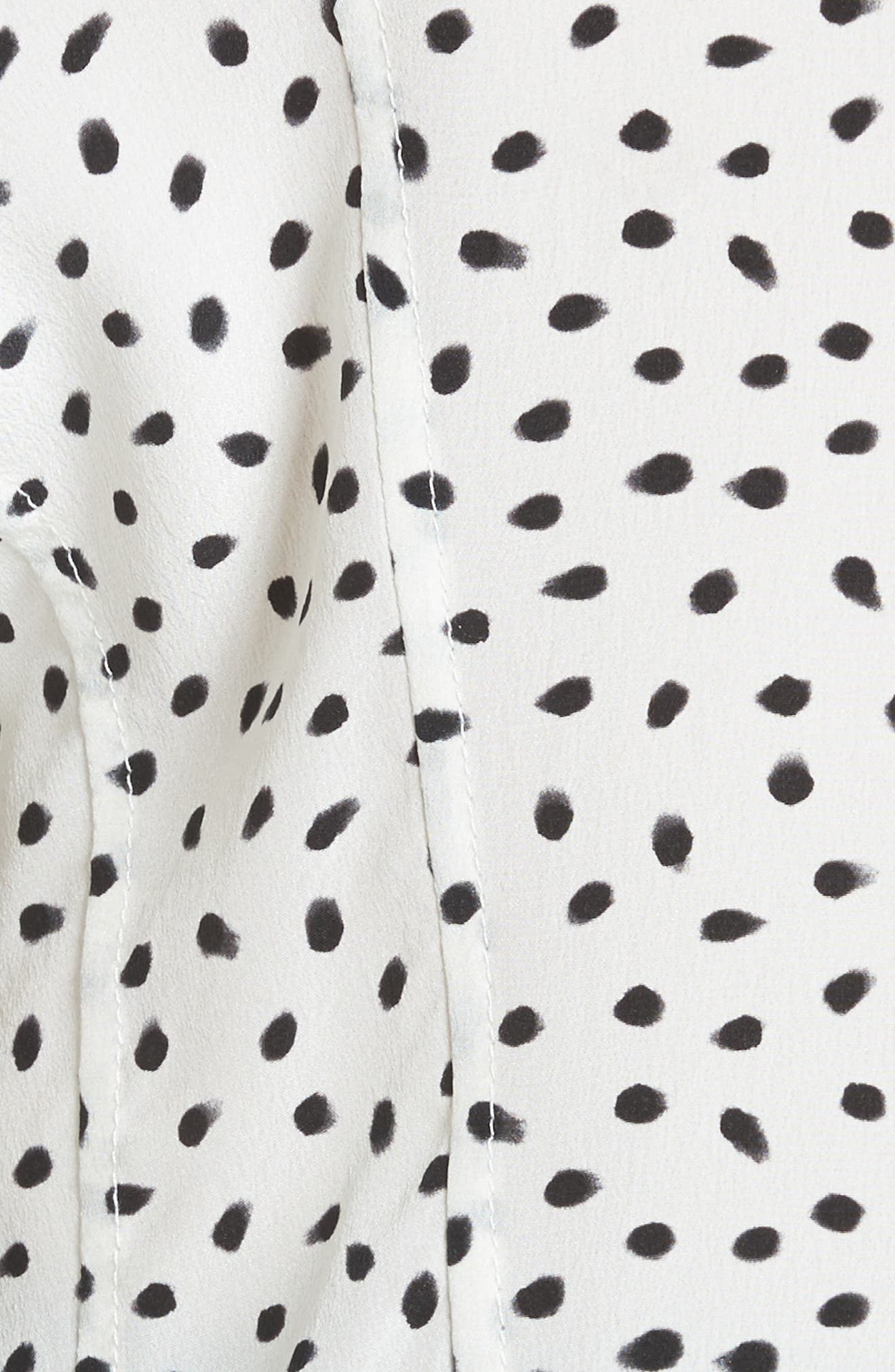Jason Wu Polka Dot Ruched Sleeve Silk Shirt,                             Alternate thumbnail 5, color,                             903