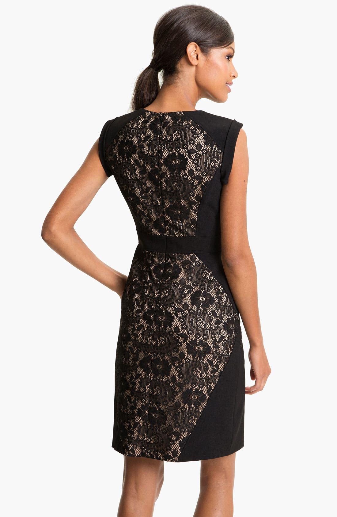 Lace Inset Crepe Sheath Dress,                             Alternate thumbnail 3, color,                             001