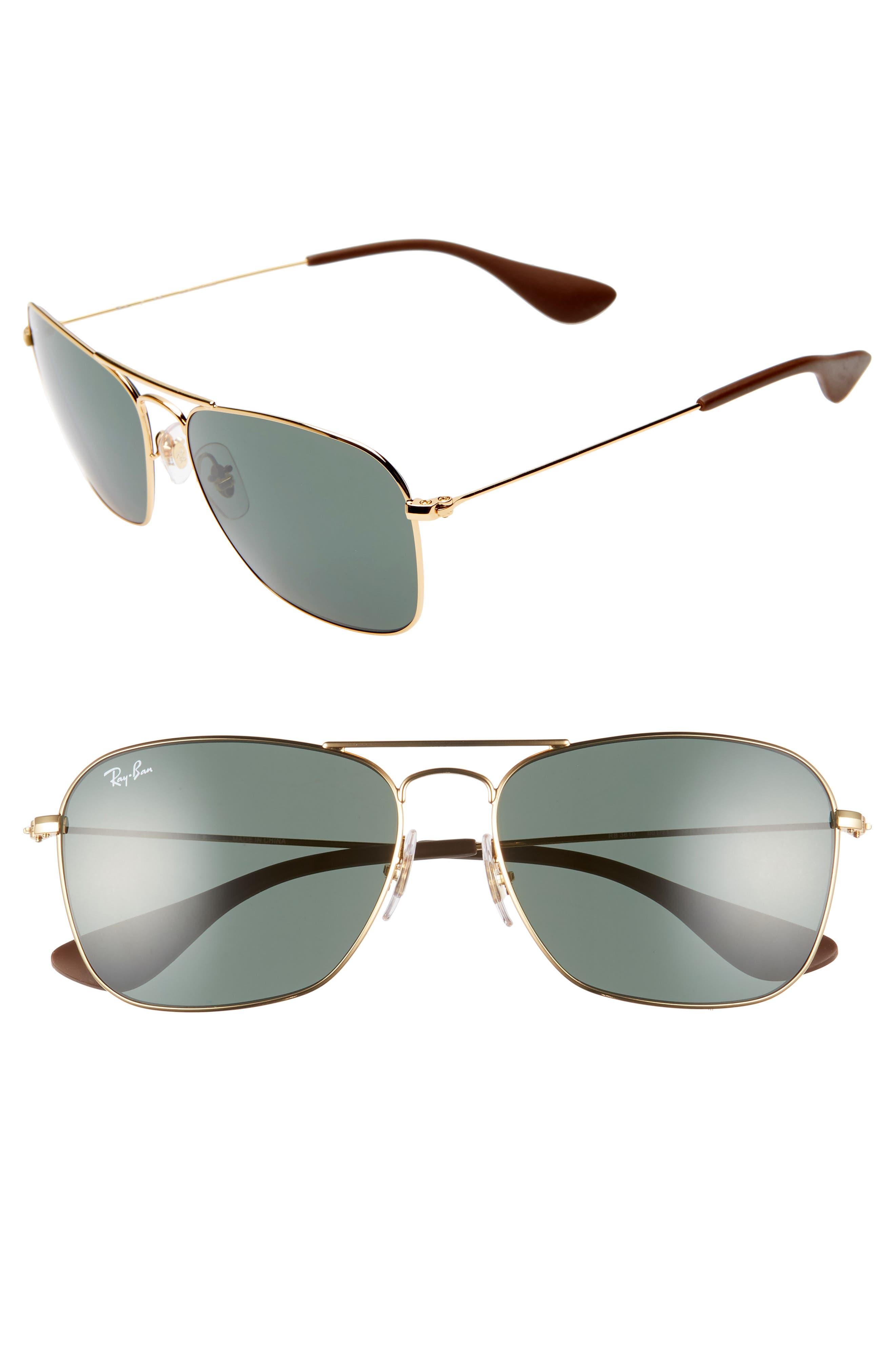 58mm Polarized Navigator Sunglasses, Main, color, GOLD