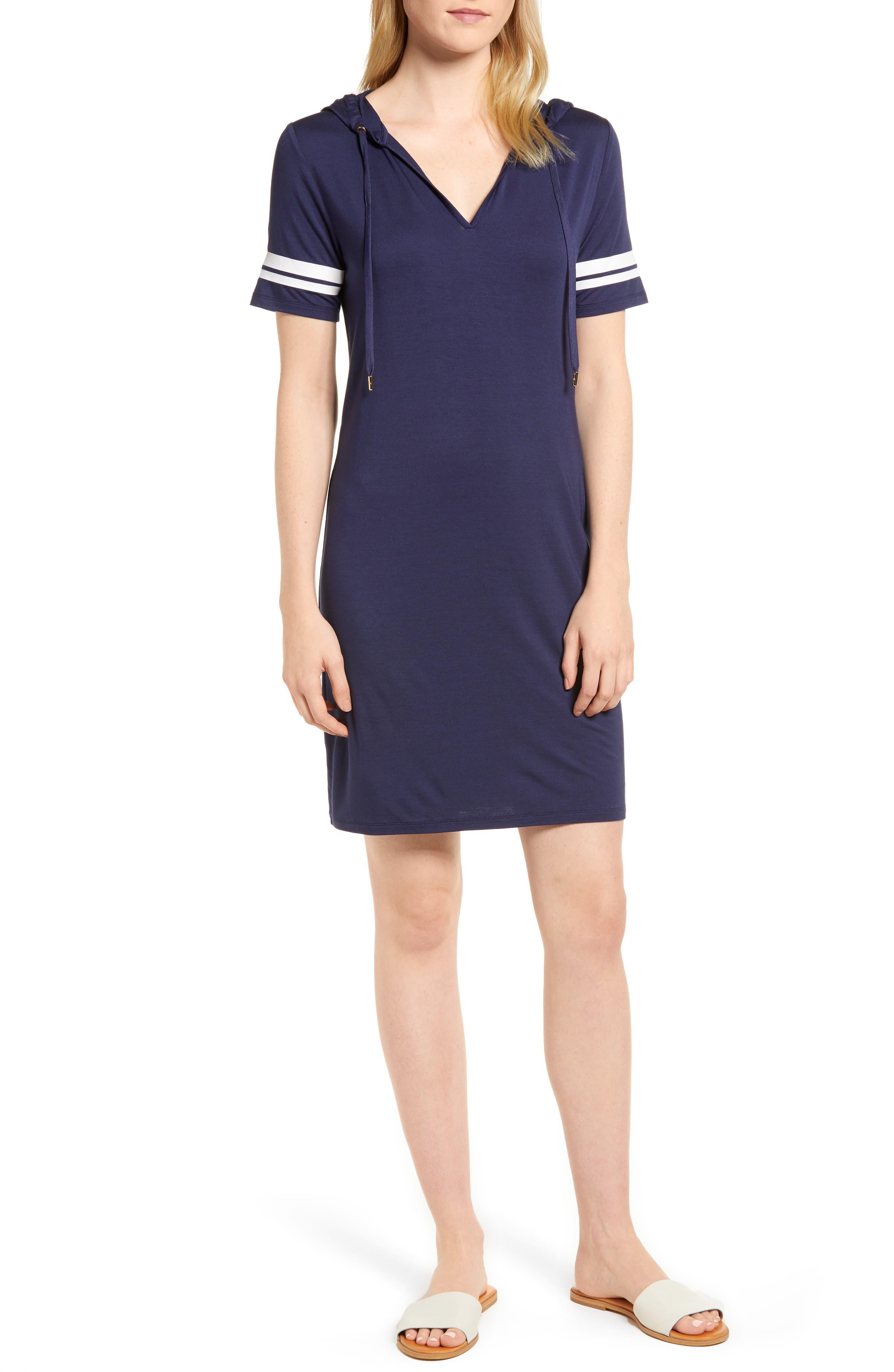 MICHAEL Michal Kors Stripe Sleeve Hoodie Dress,                             Main thumbnail 2, color,