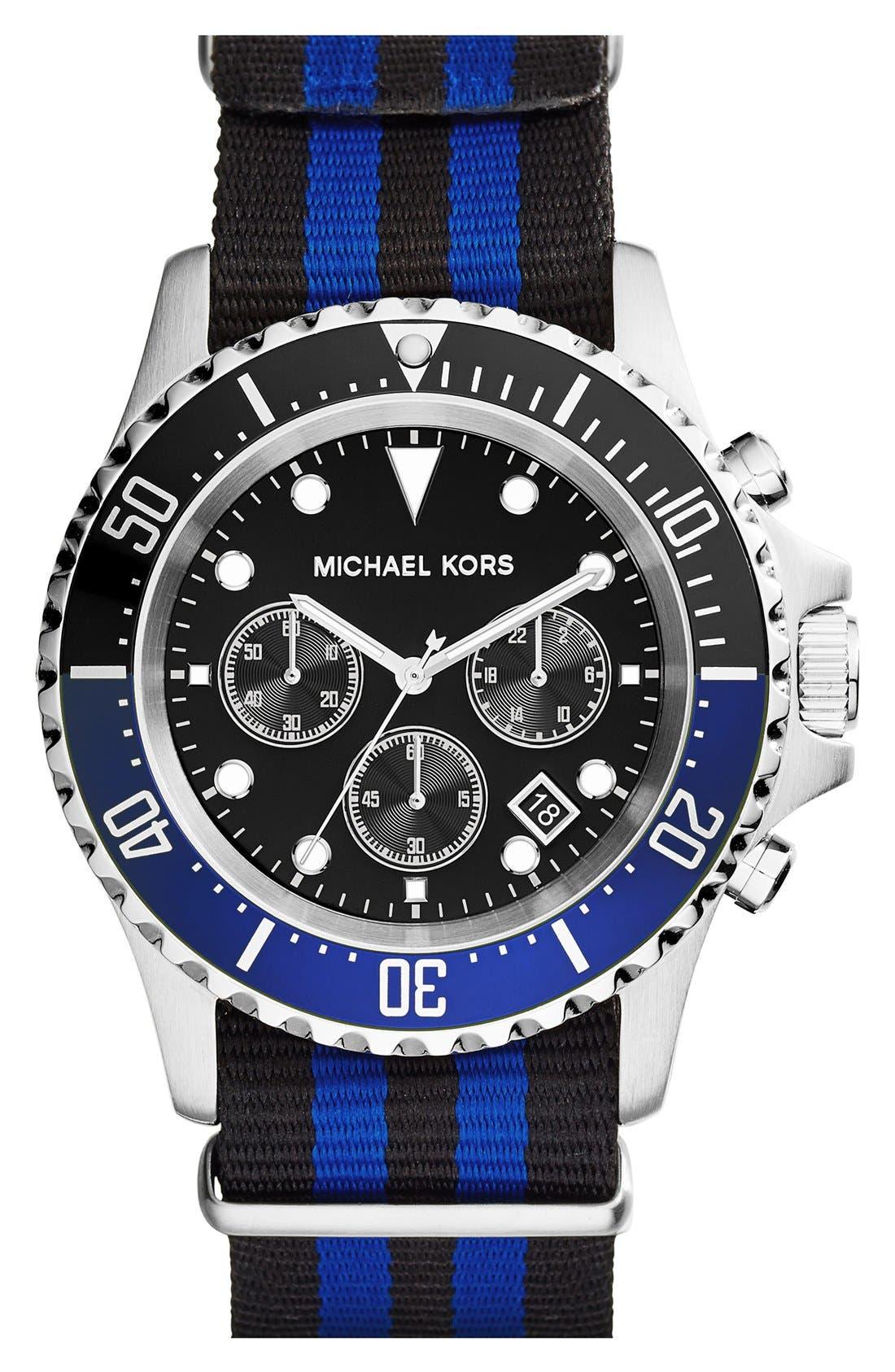 MICHAEL MICHAEL KORS,                             Michael Kors 'Everest' Chronograph NATO Strap Watch, 45mm,                             Main thumbnail 1, color,                             040