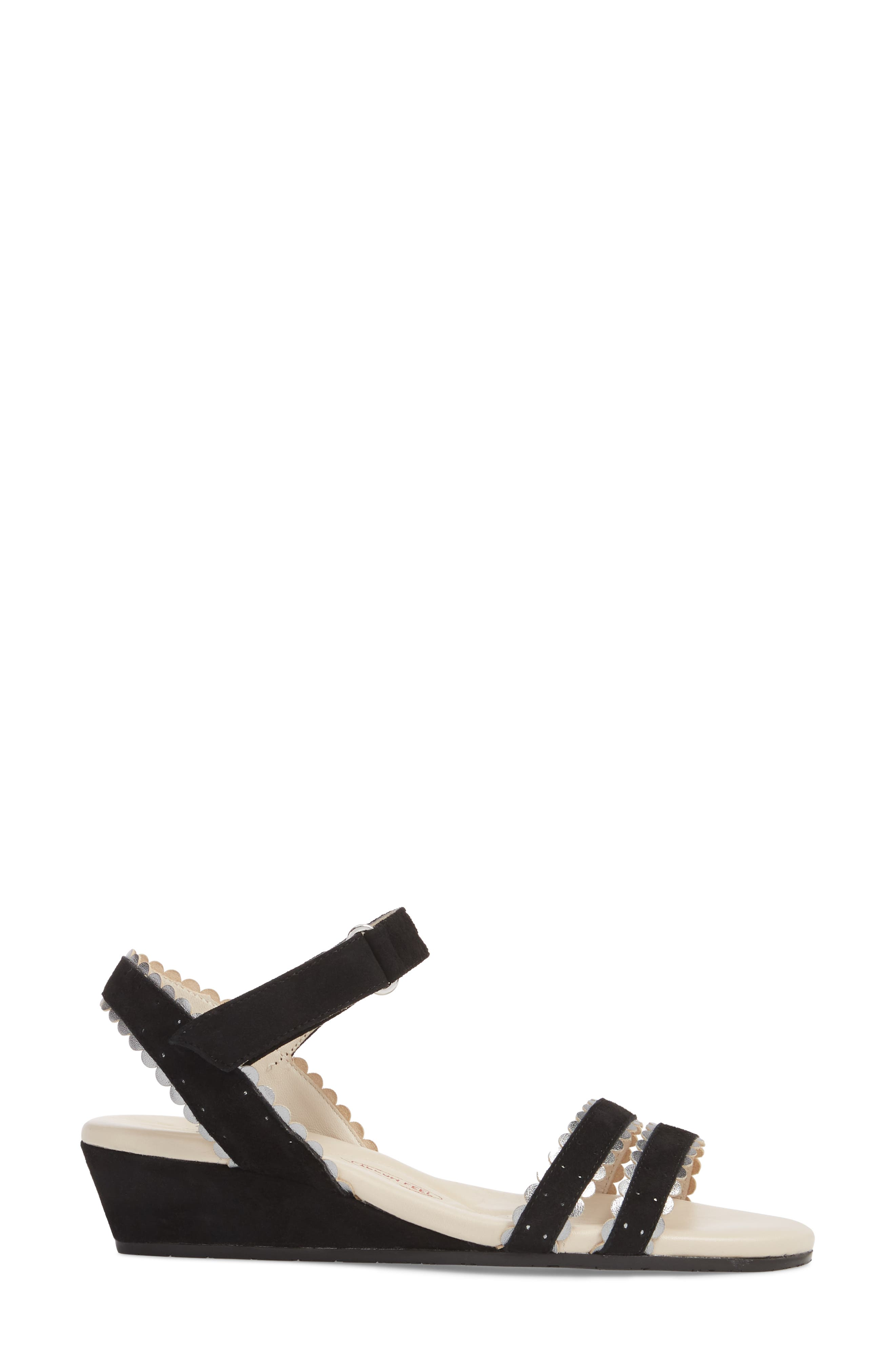 Messina Wedge Sandal,                             Alternate thumbnail 3, color,                             BLACK SUEDE