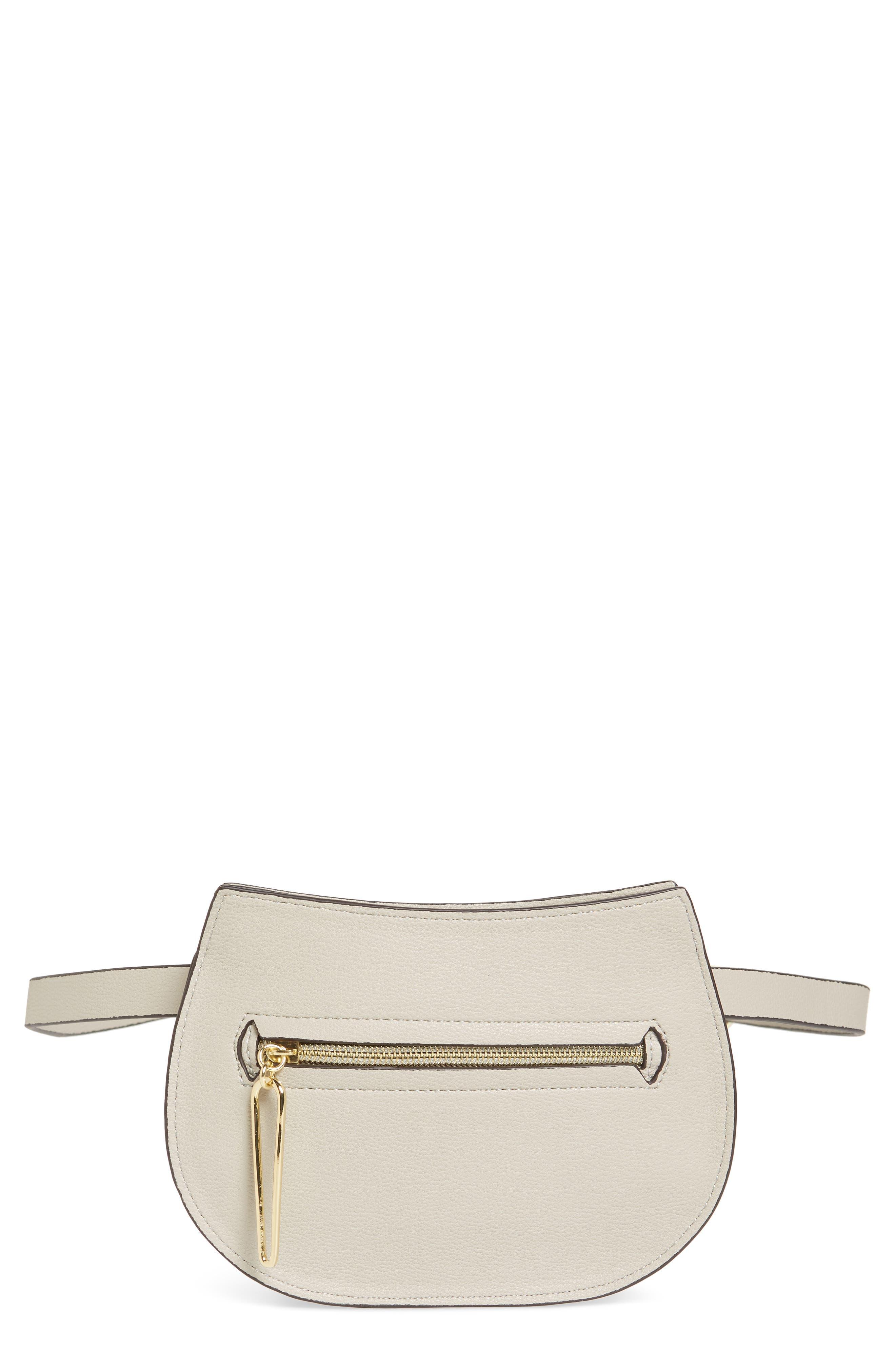 DANIELLE NICOLE Trish Faux Leather Belt Bag - Grey in Light Grey