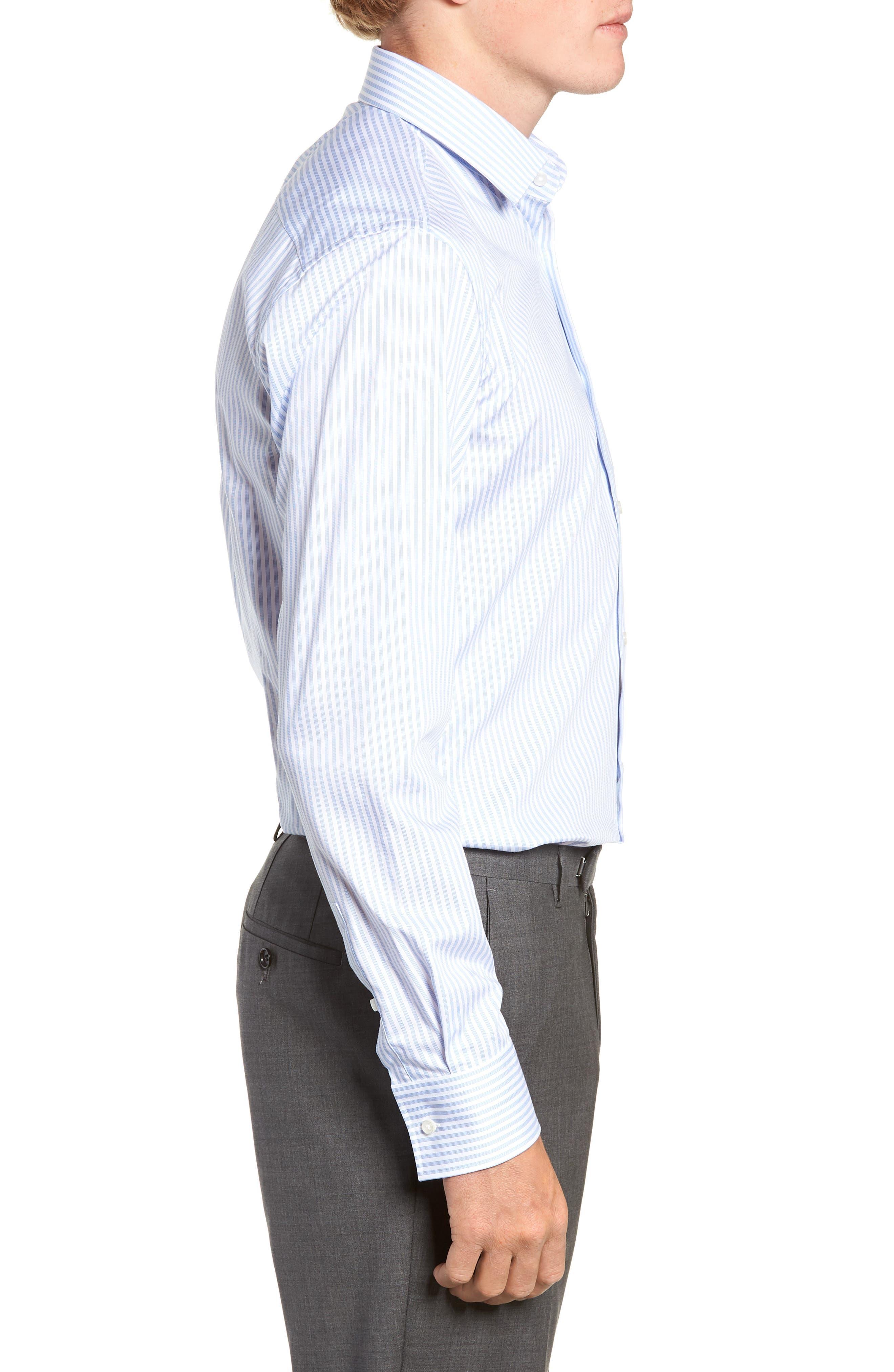 Jenno Trim Fit Stripe Dress Shirt,                             Alternate thumbnail 4, color,                             BLUE