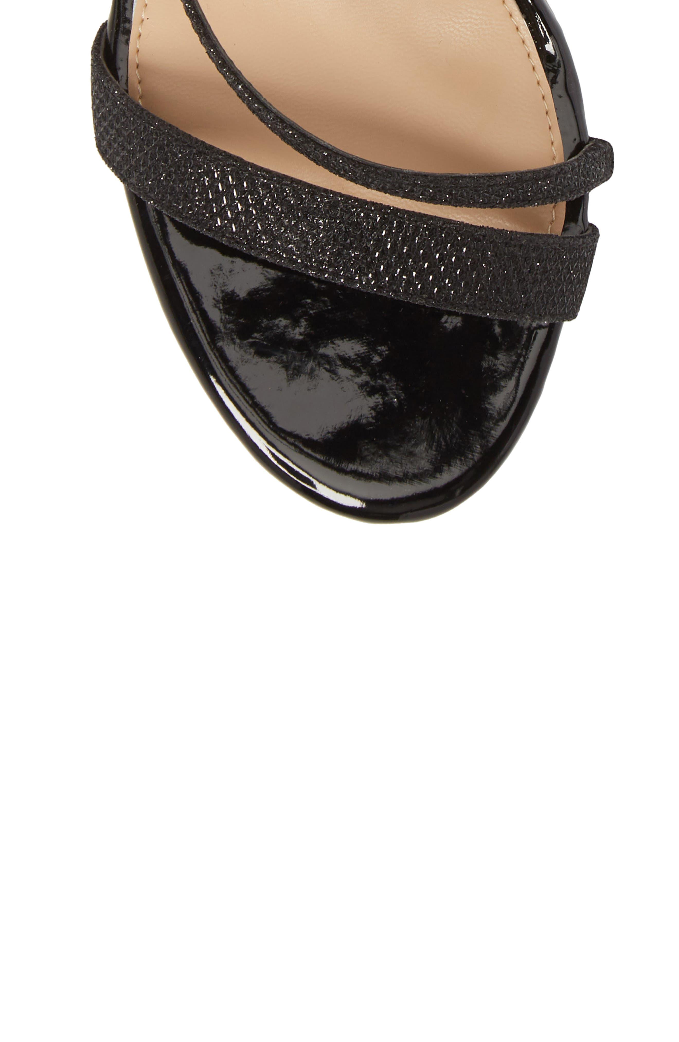 Badgley Mischka Gale Block Heel Sandal,                             Alternate thumbnail 5, color,                             BLACK GLITTER FABRIC