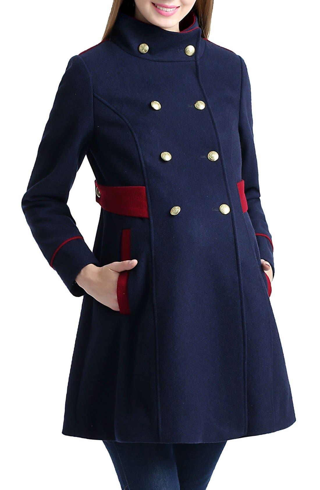 Nom 'Pan' Military Maternity Pea Coat,                             Alternate thumbnail 3, color,                             NAVY