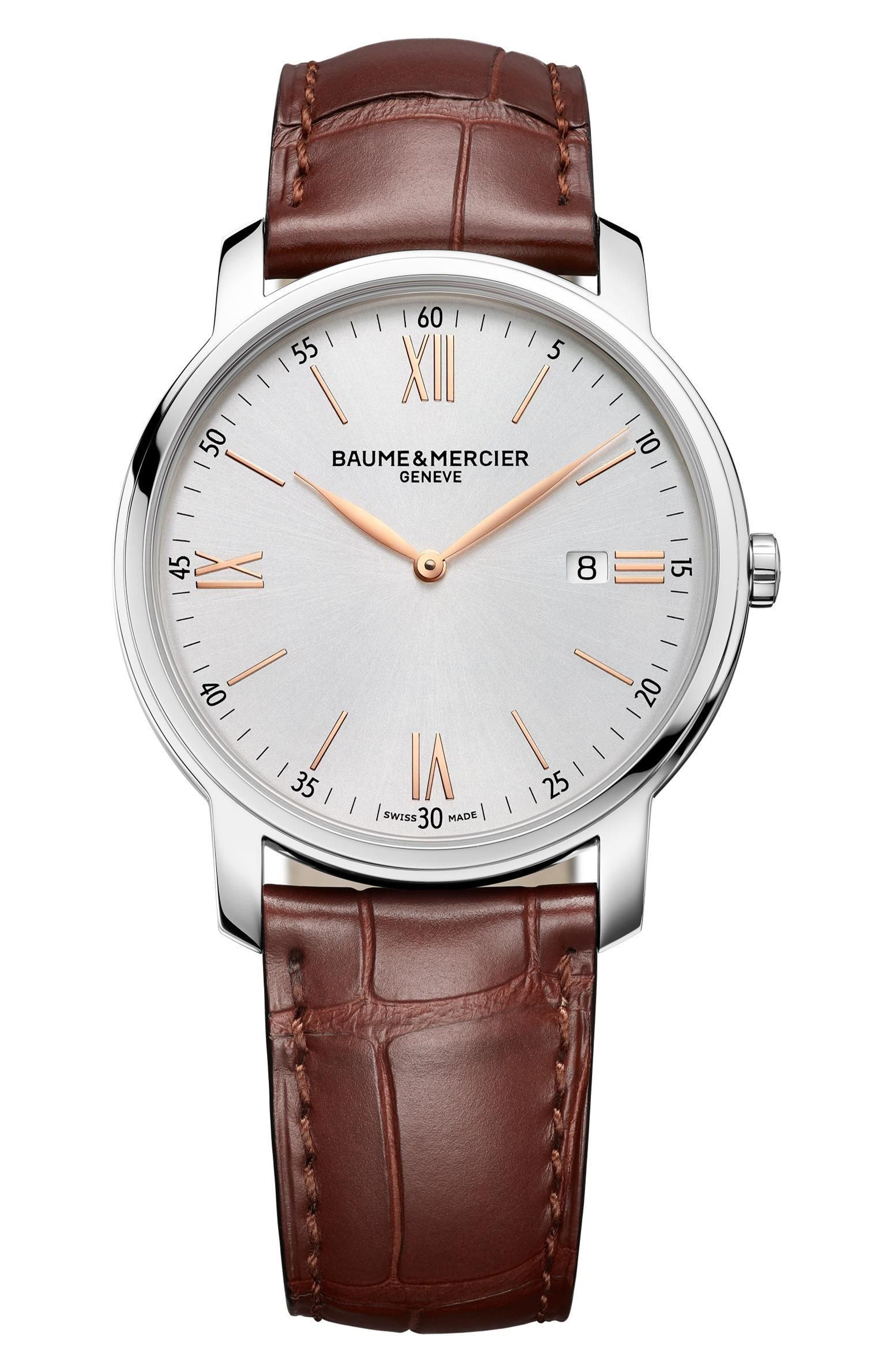 Classima Leather Strap Watch, 42mm,                         Main,                         color, SILVER/ GOLD/ BROWN