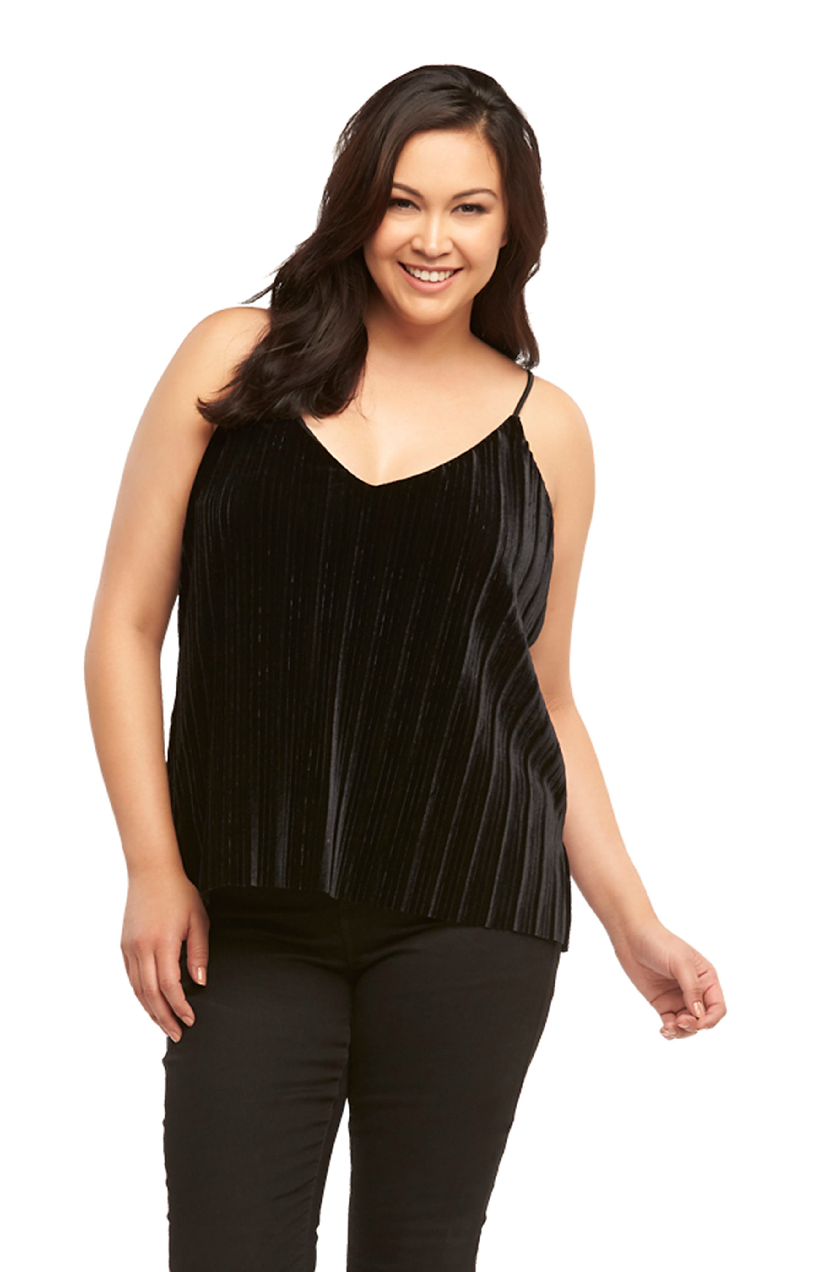 Maren Pleat Velvet Camisole,                             Alternate thumbnail 5, color,                             BLACK