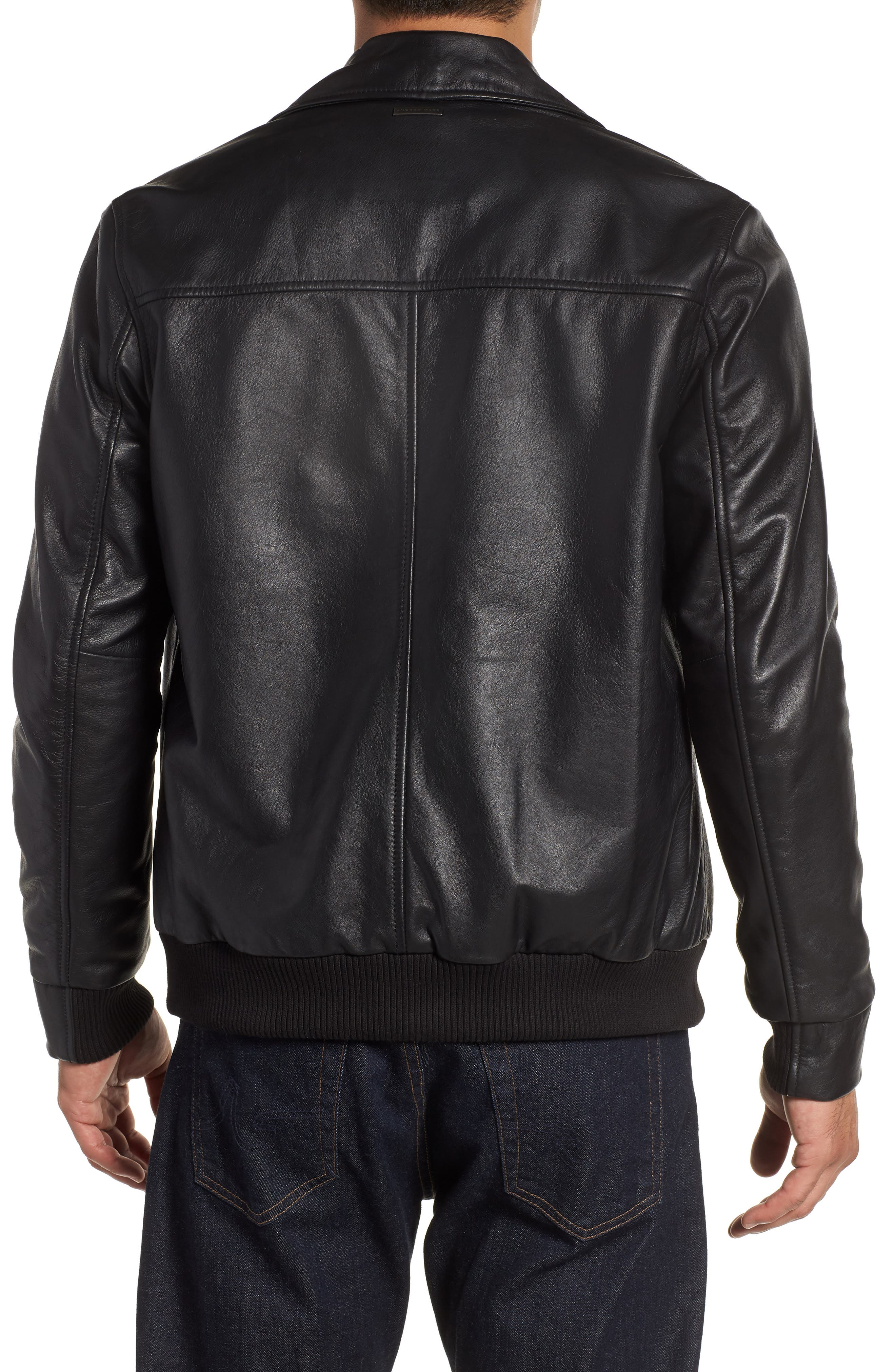 ANDREW MARC,                             Vaughn Shirt Collar Leather Bomber Jacket,                             Alternate thumbnail 2, color,                             BLACK