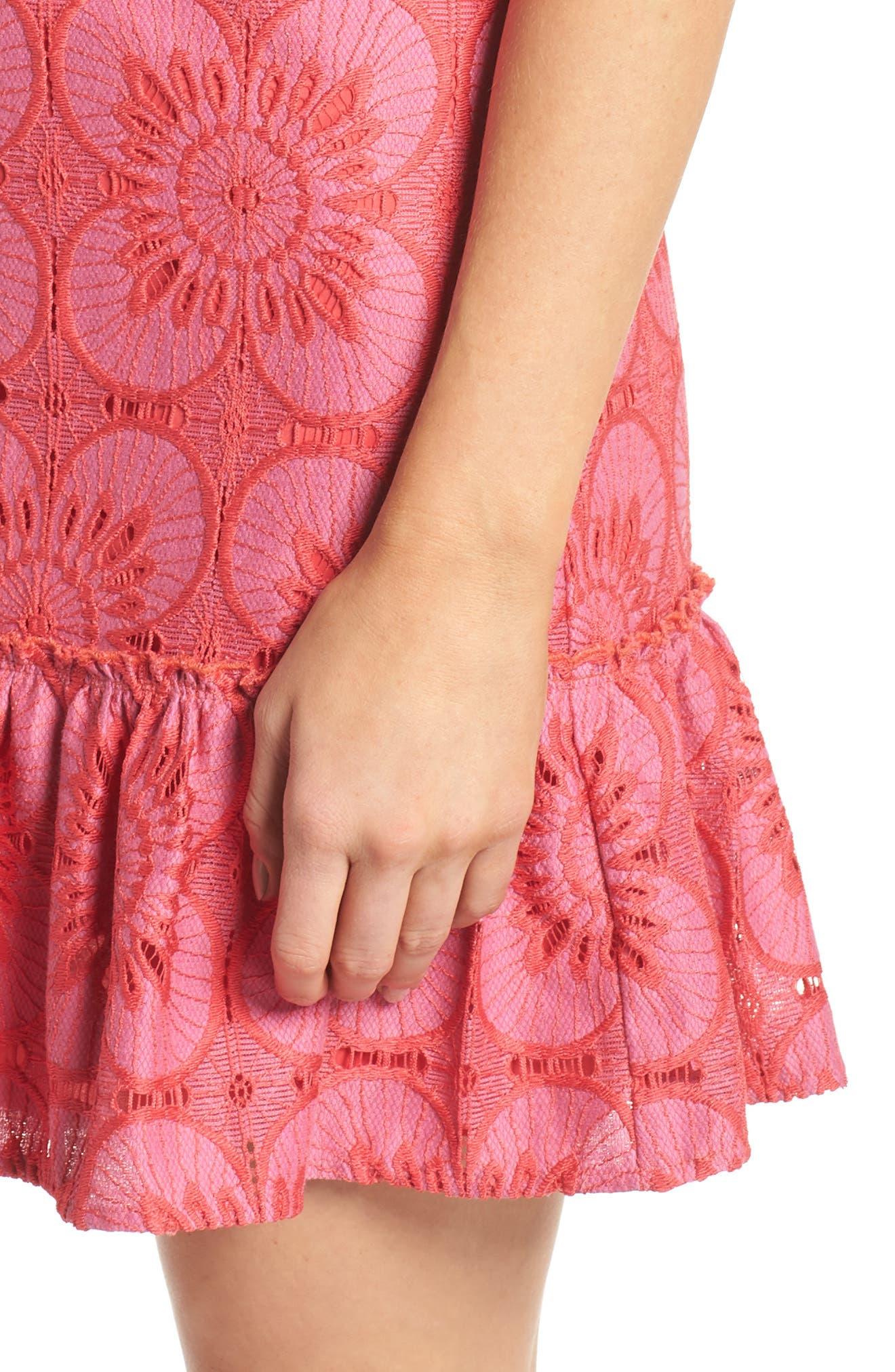 Carpinteria Lace Ruffle Hem Dress,                             Alternate thumbnail 4, color,