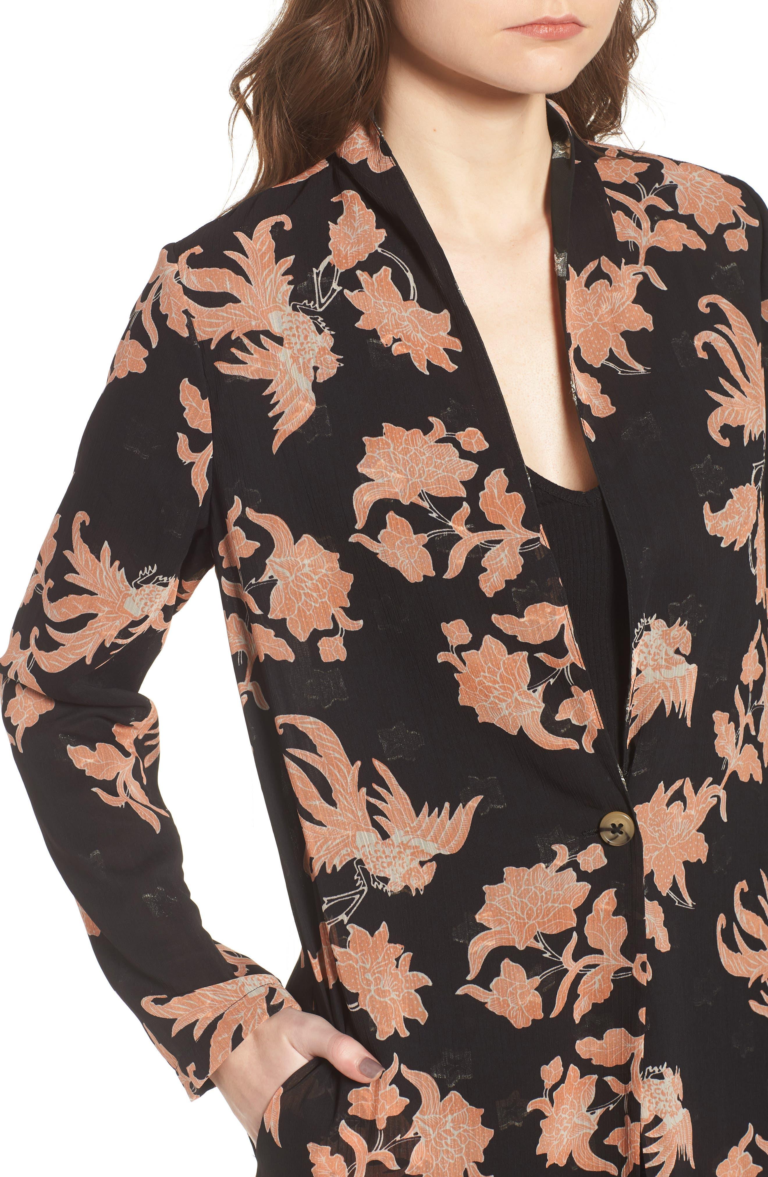 Floral Print Drape Duster Jacket,                             Alternate thumbnail 4, color,                             001