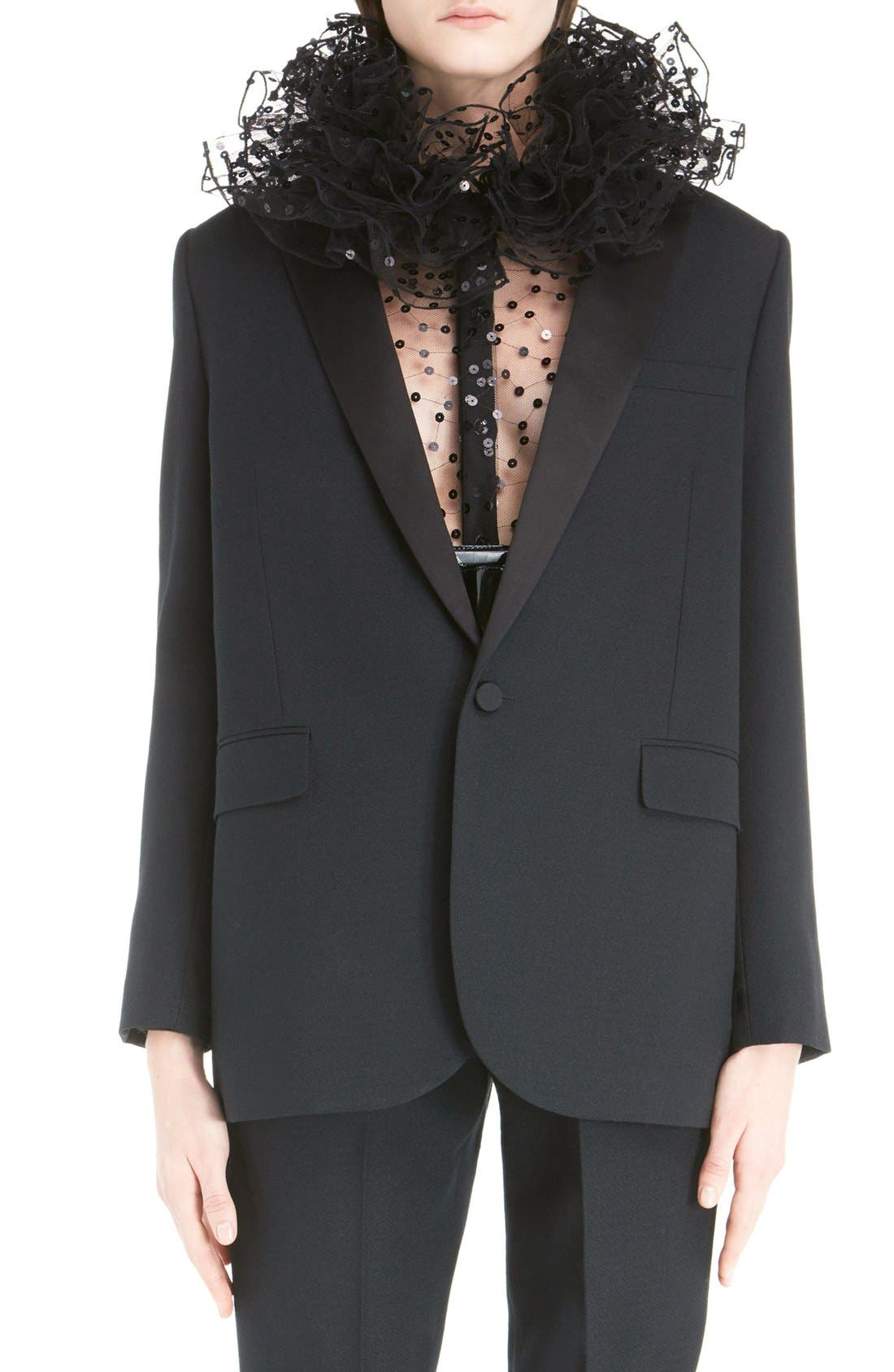 One-Button Tuxedo Jacket,                             Main thumbnail 1, color,                             BLACK