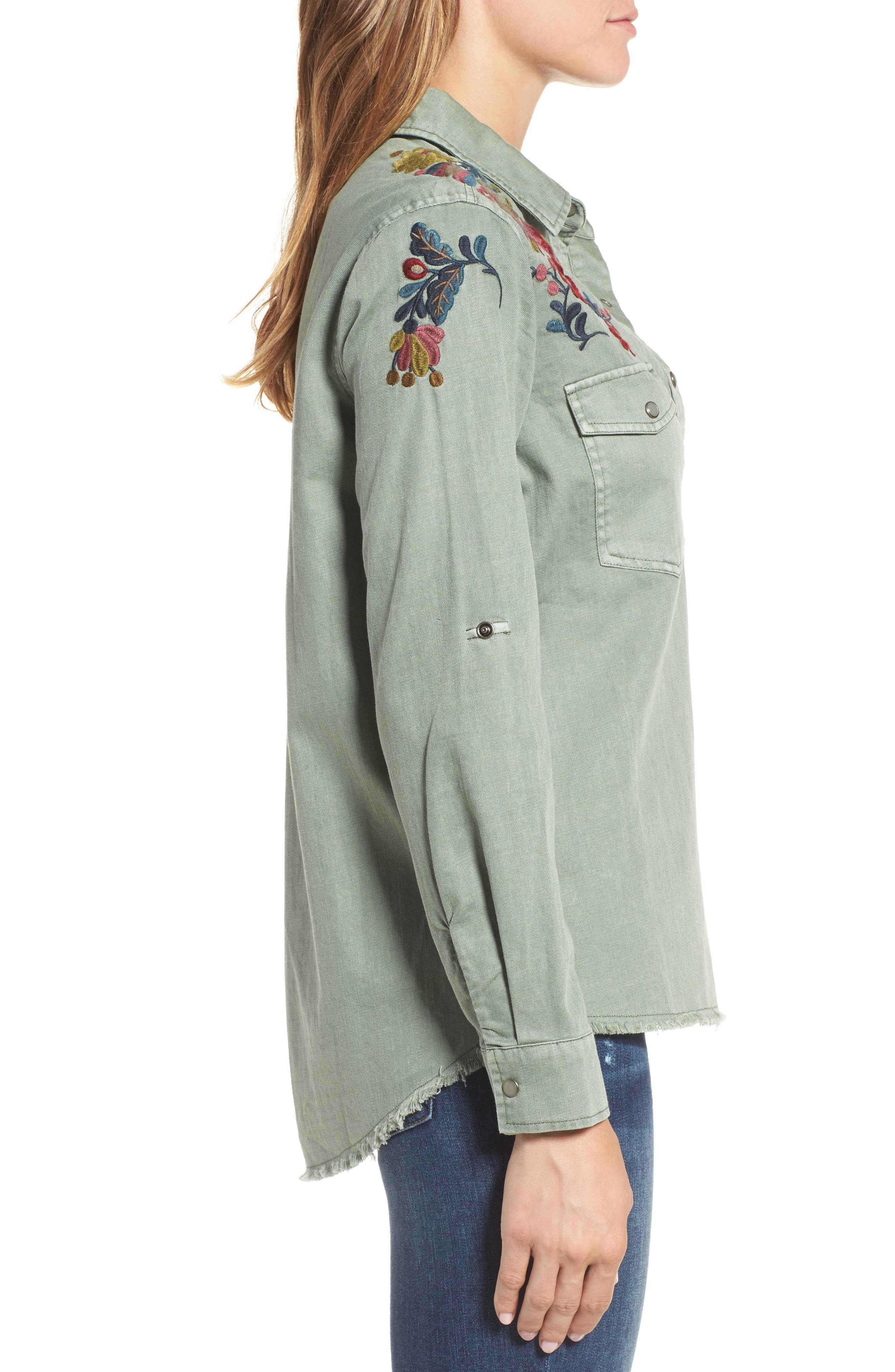 Roll Sleeve Embroidered Shirt,                             Alternate thumbnail 3, color,                             301