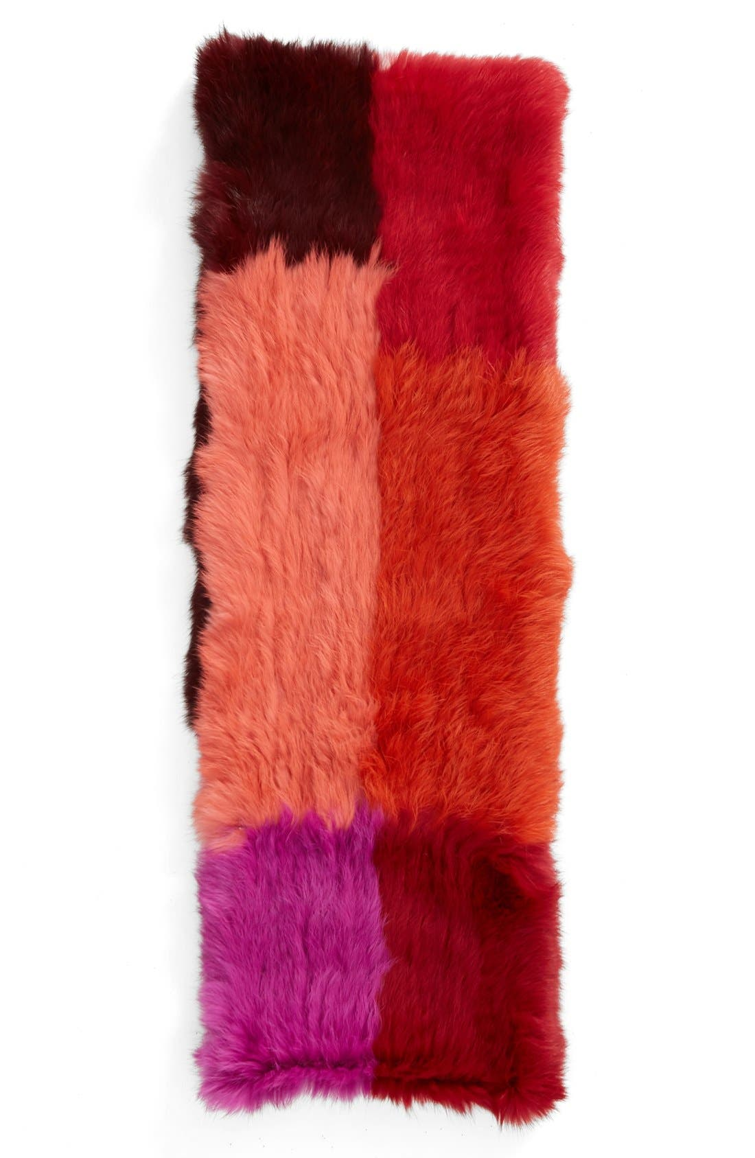 Colorblock Genuine Rabbit Fur Infinity Scarf,                             Alternate thumbnail 2, color,                             650
