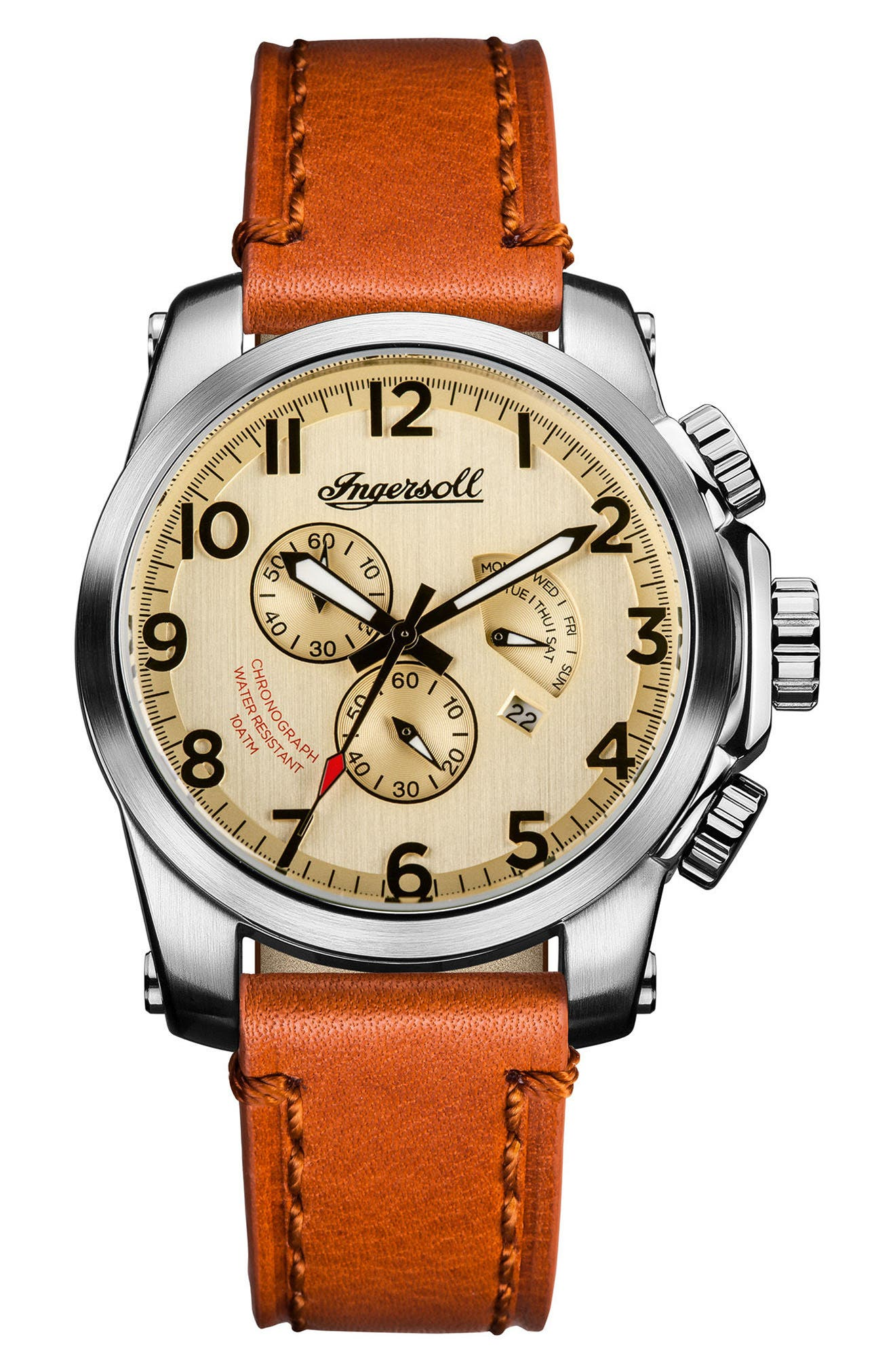 Ingersoll Manning Chronograph Leather Strap Watch, 47mm,                             Main thumbnail 1, color,                             BROWN/ BEIGE/ SILVER