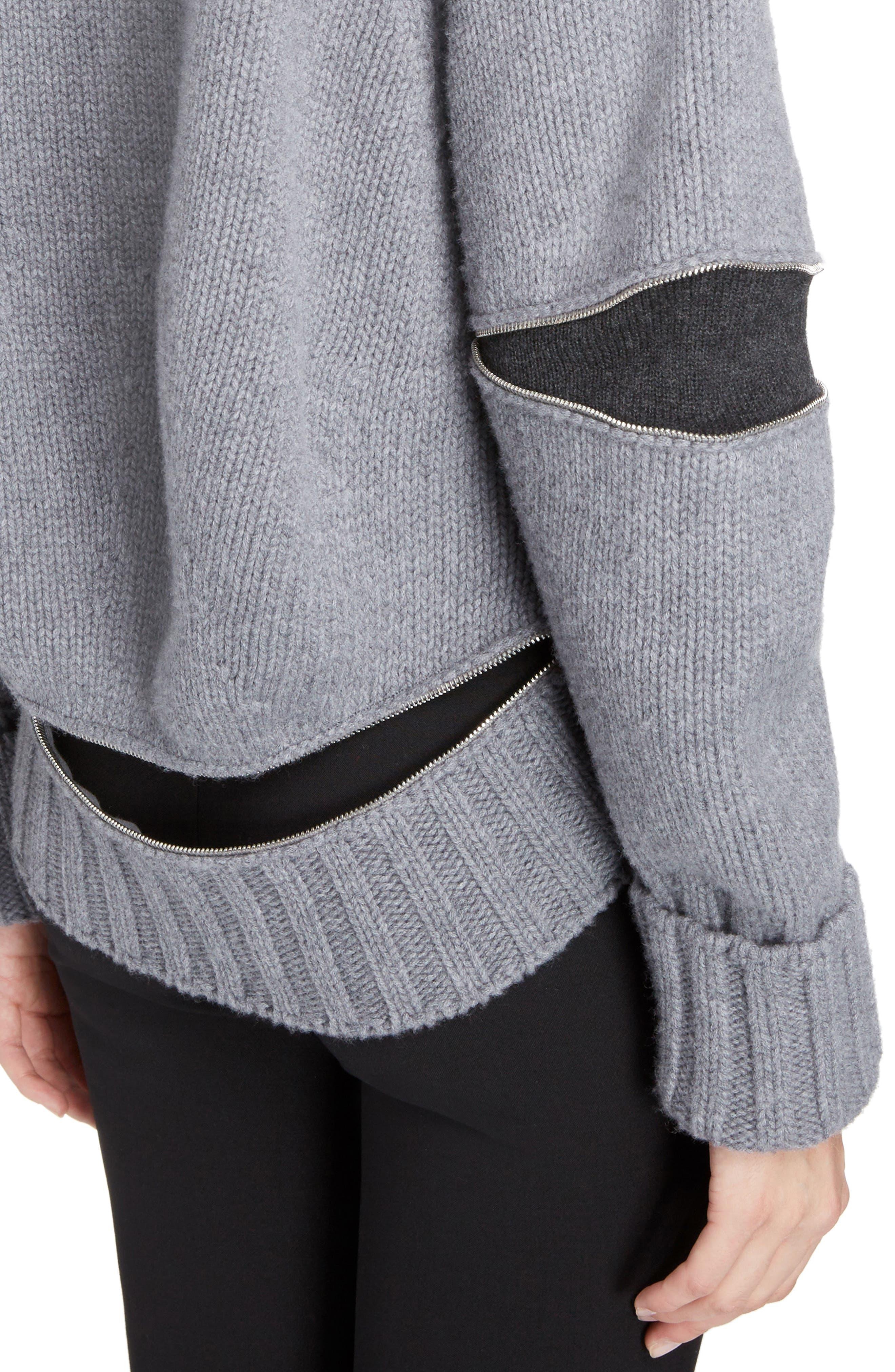 Zip Sleeve Wool Argyle Sweater,                             Alternate thumbnail 4, color,                             027