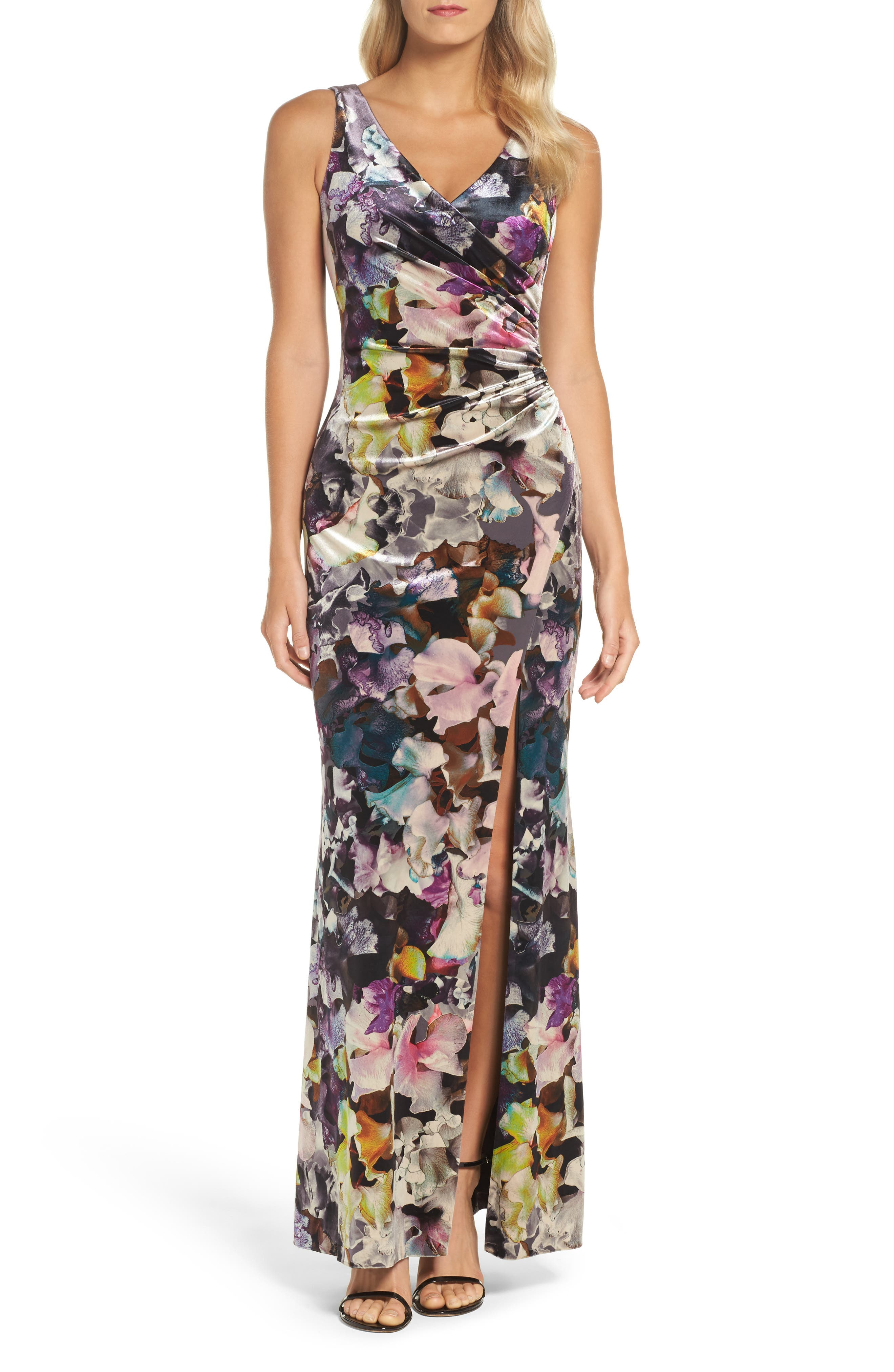 Floral Velvet Gown,                             Main thumbnail 1, color,                             590