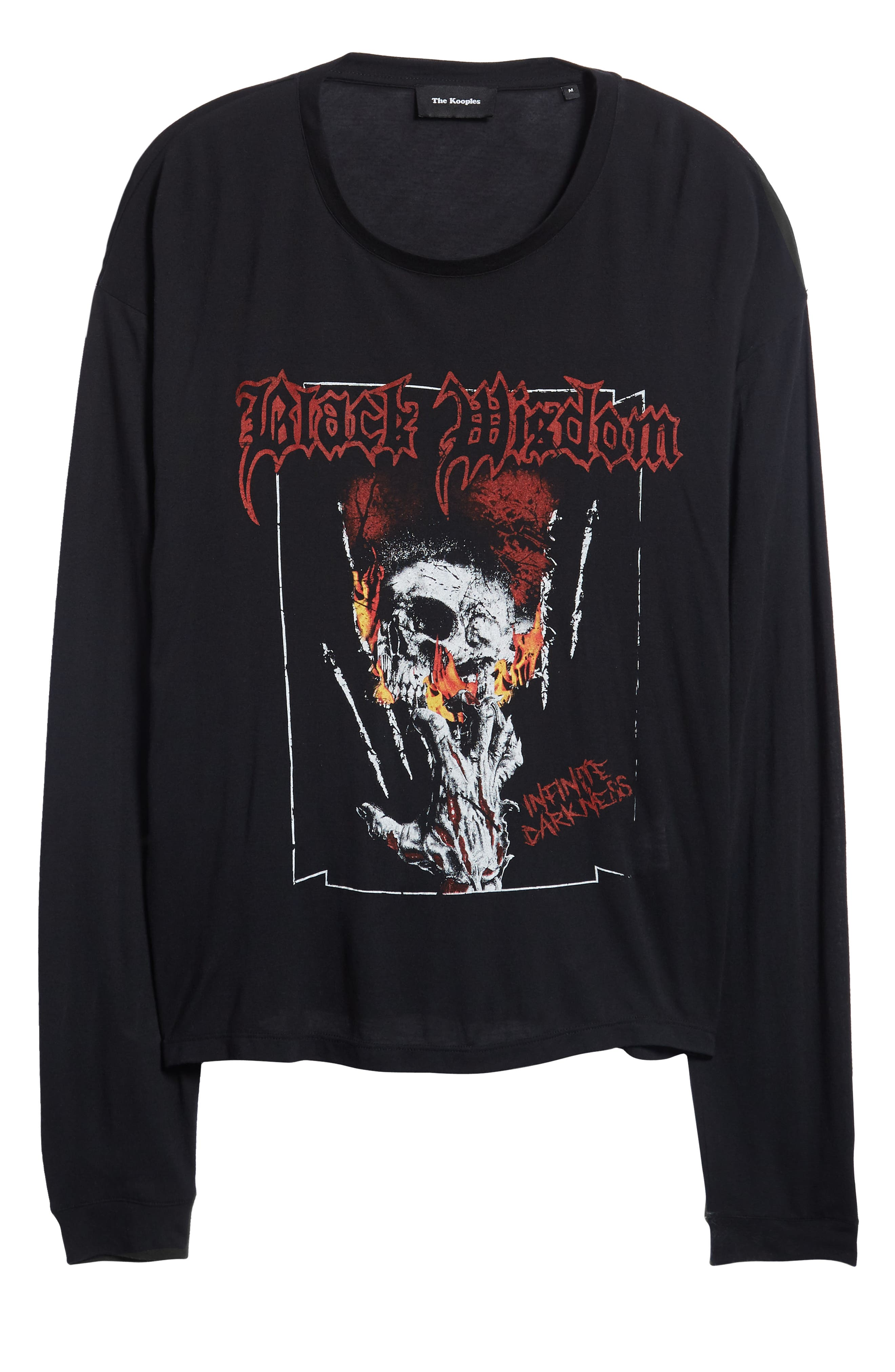 Black Wisdom Graphic Long Sleeve T-Shirt,                             Alternate thumbnail 6, color,                             BLACK