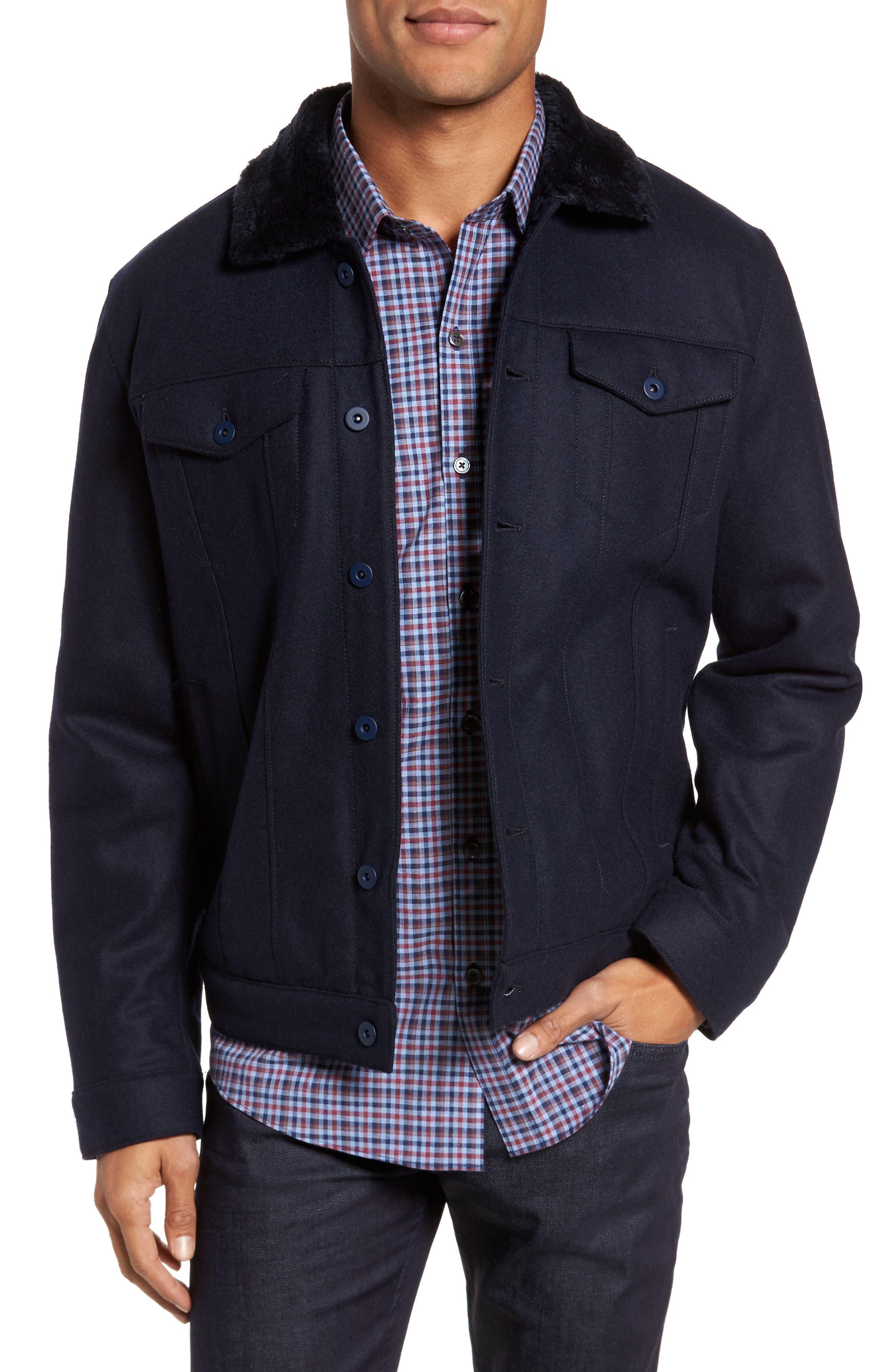 Faux Fur Trim Jacket,                         Main,                         color, 410