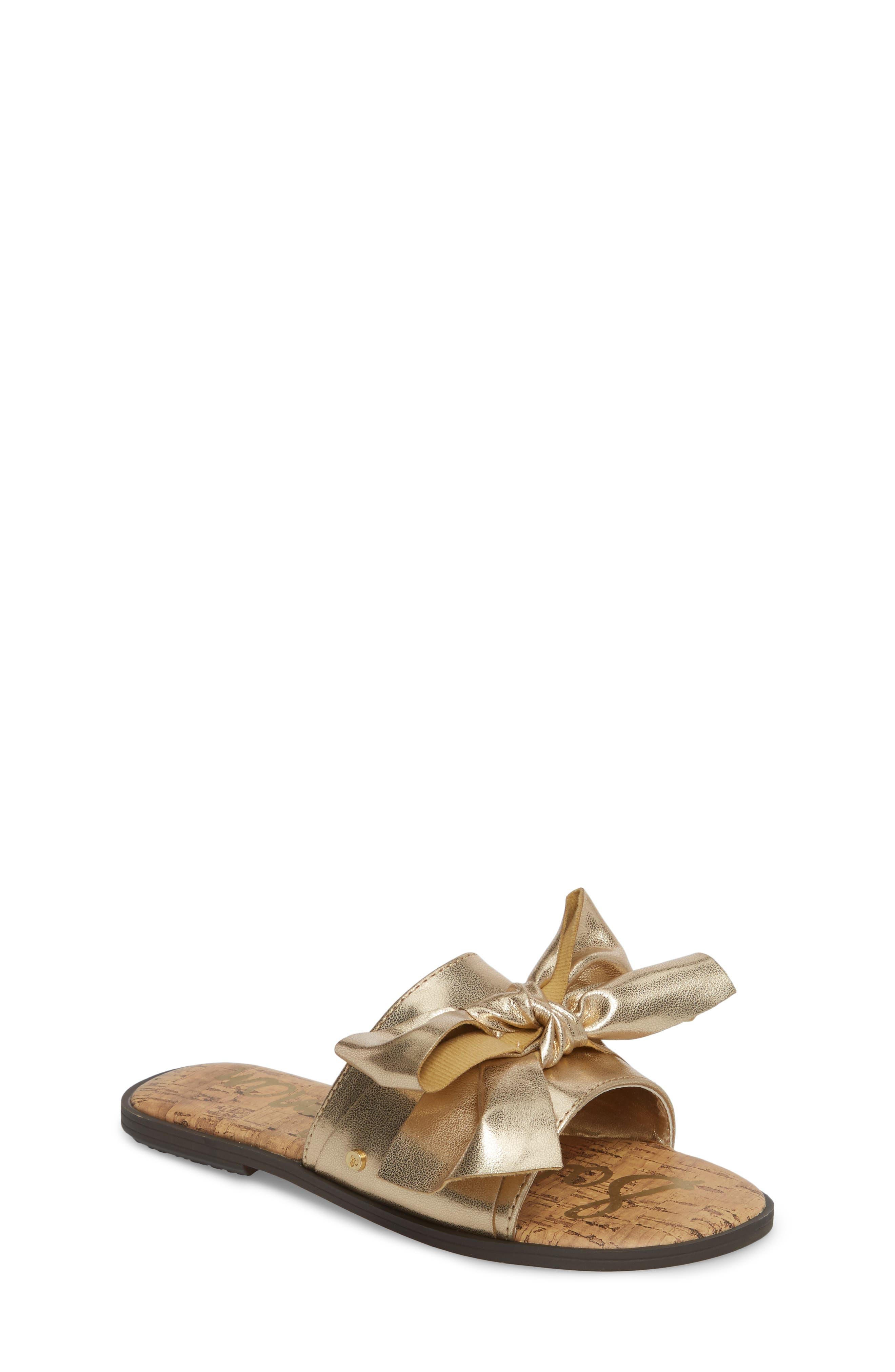 Gigi Bow Faux Leather Sandal,                             Main thumbnail 3, color,