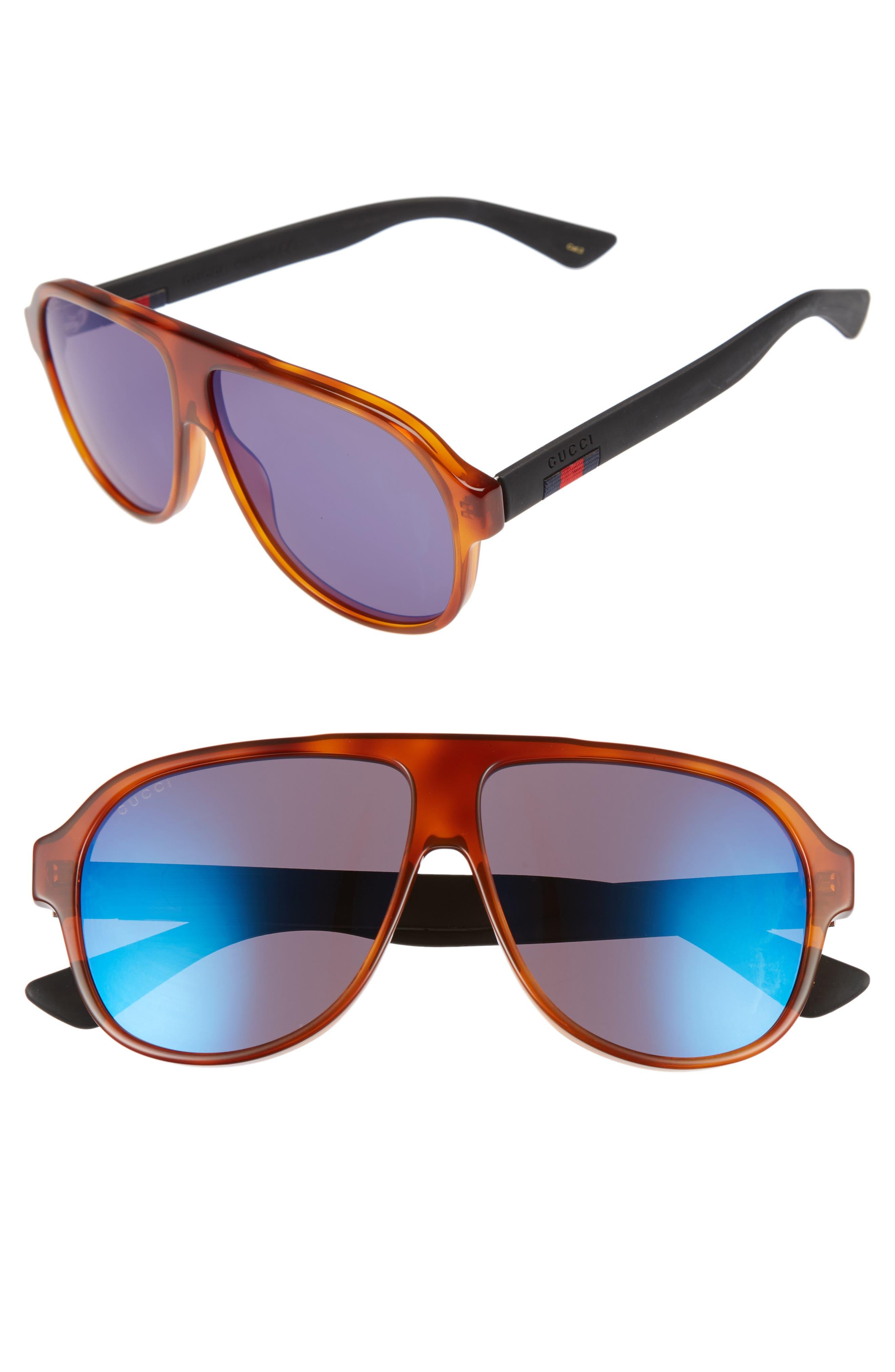 Oversize 59mm Sunglasses,                             Main thumbnail 1, color,                             BLONDE HAVANA/ BLUE MIRROR