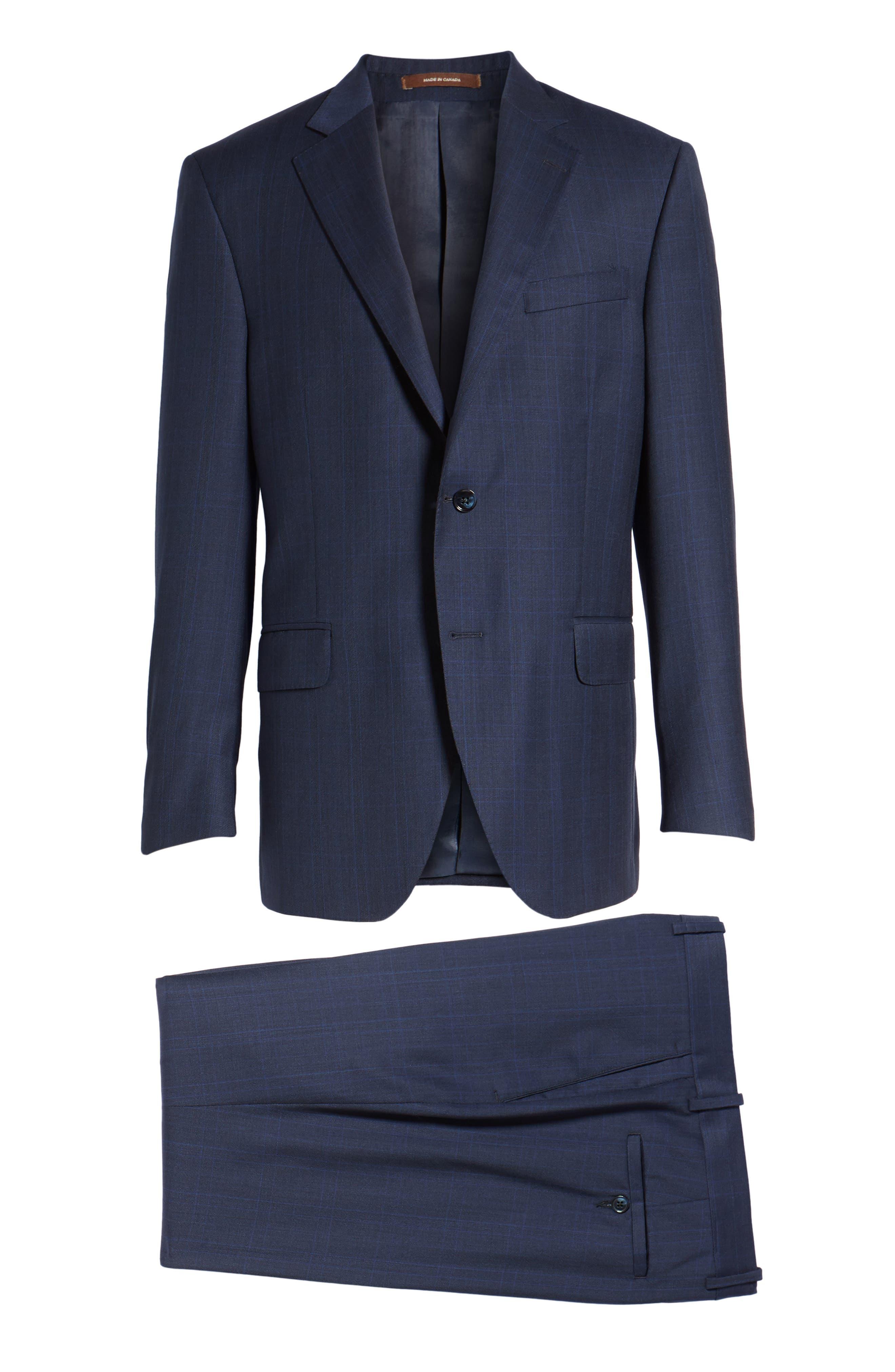 Classic Fit Plaid Wool Suit,                             Alternate thumbnail 8, color,                             410