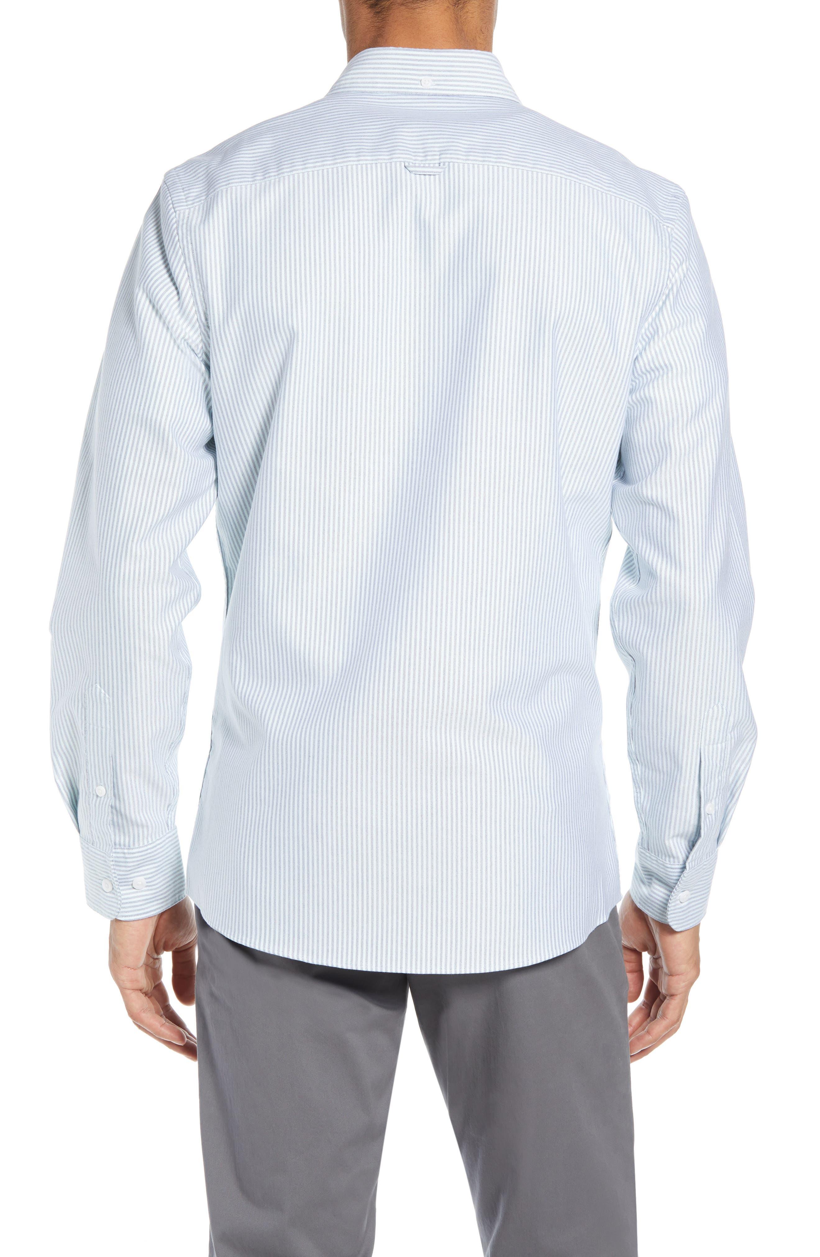 Trim Fit Bengal Stripe Sport Shirt,                             Alternate thumbnail 3, color,                             BLUE ENSIGN MINT STRIPE