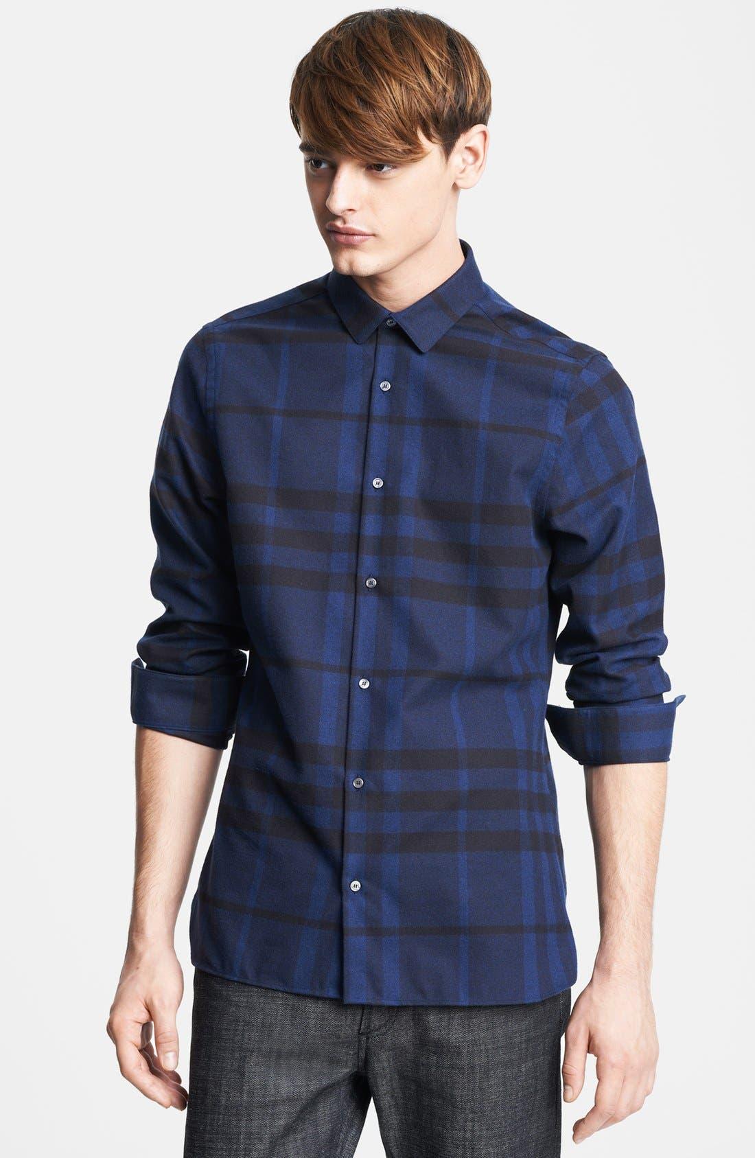 London Check Flannel Shirt, Main, color, 410