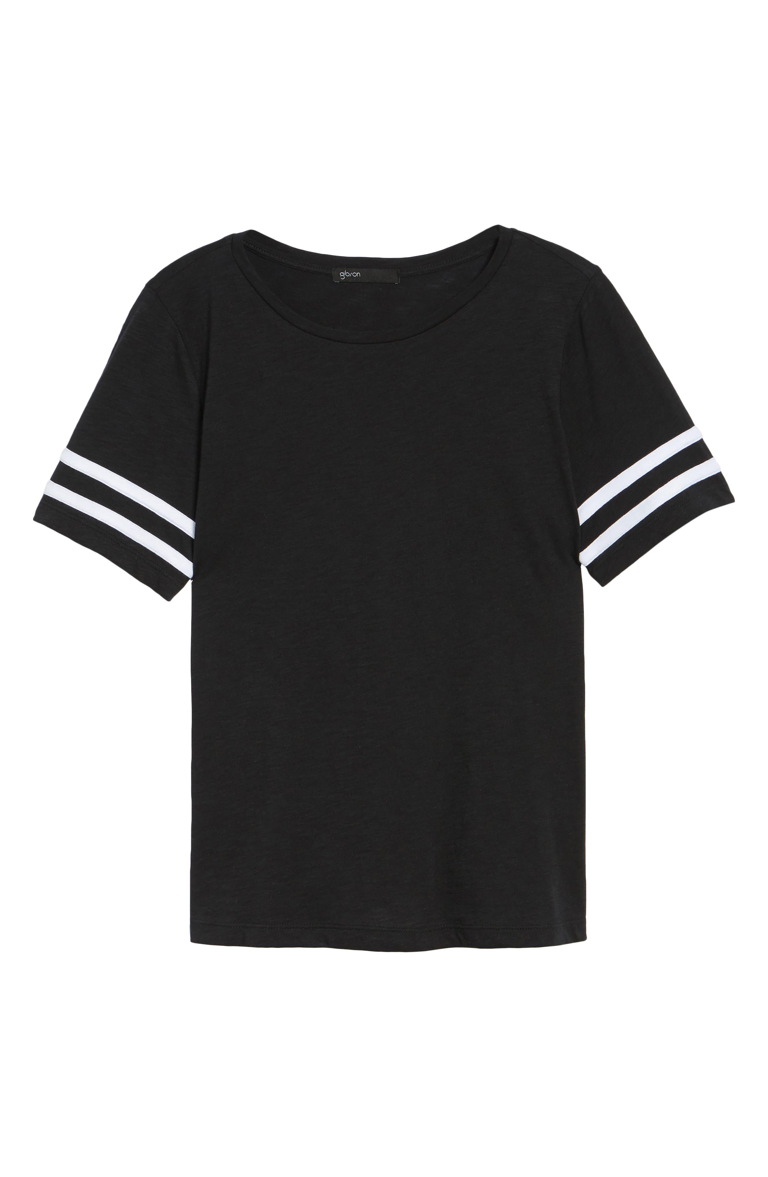 Stripe Sleeve Cotton Blend Athletic Tee,                             Alternate thumbnail 22, color,