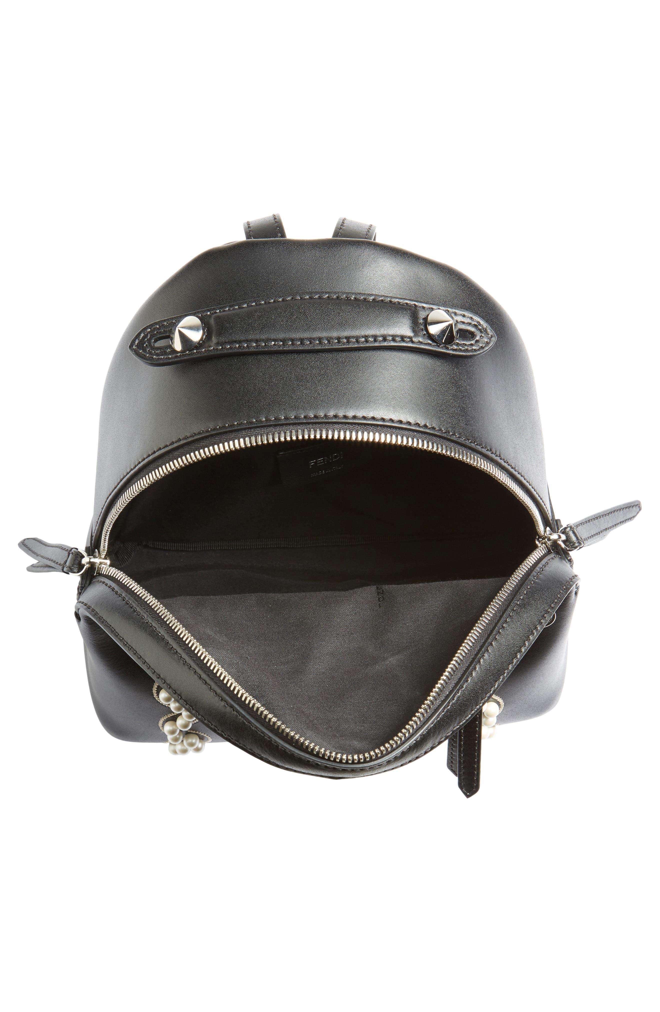 Mini Imitation Pearl Bow Leather Backpack,                             Alternate thumbnail 4, color,                             004
